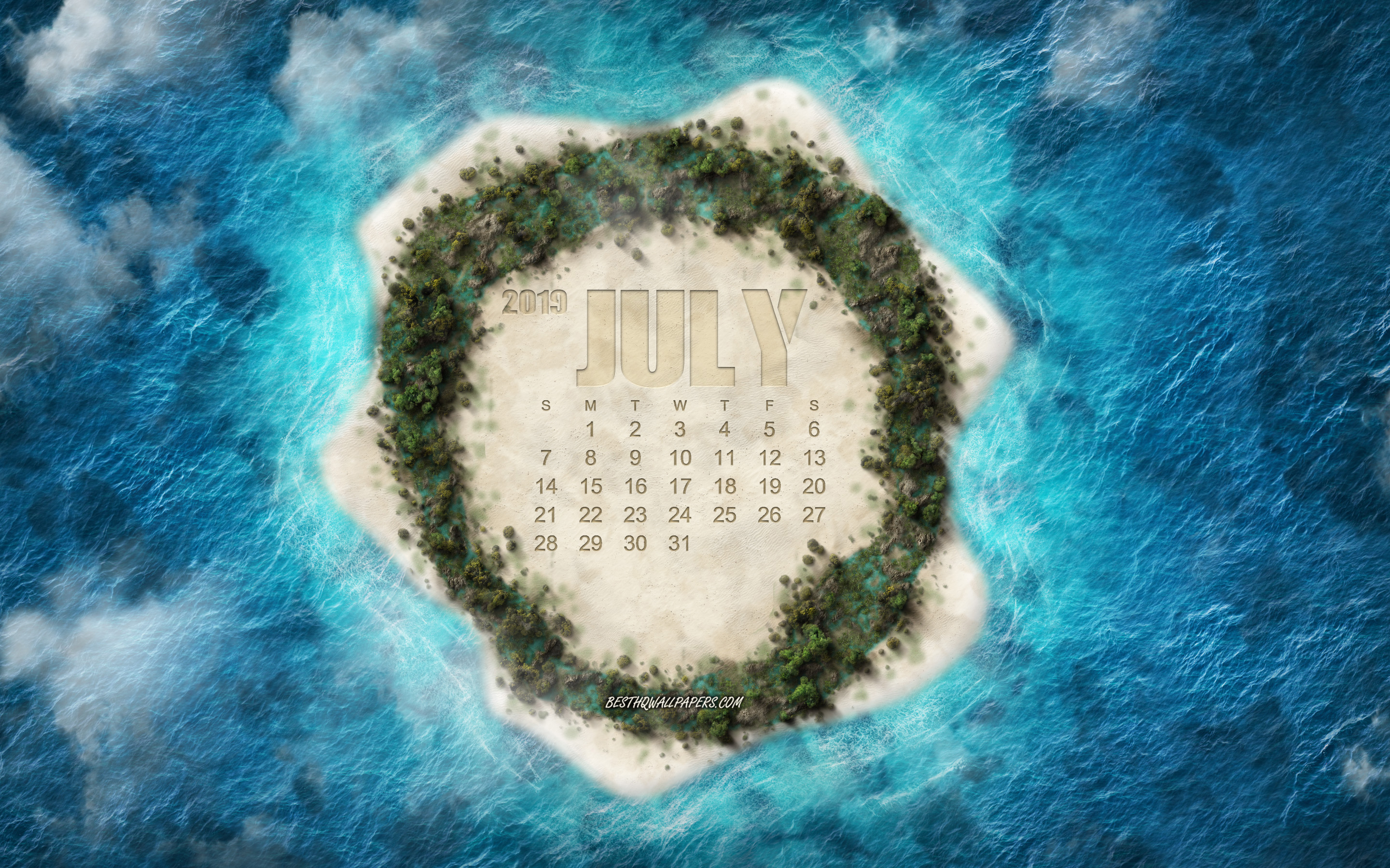Download wallpapers 2019 July calendar, tropical island, summer ...