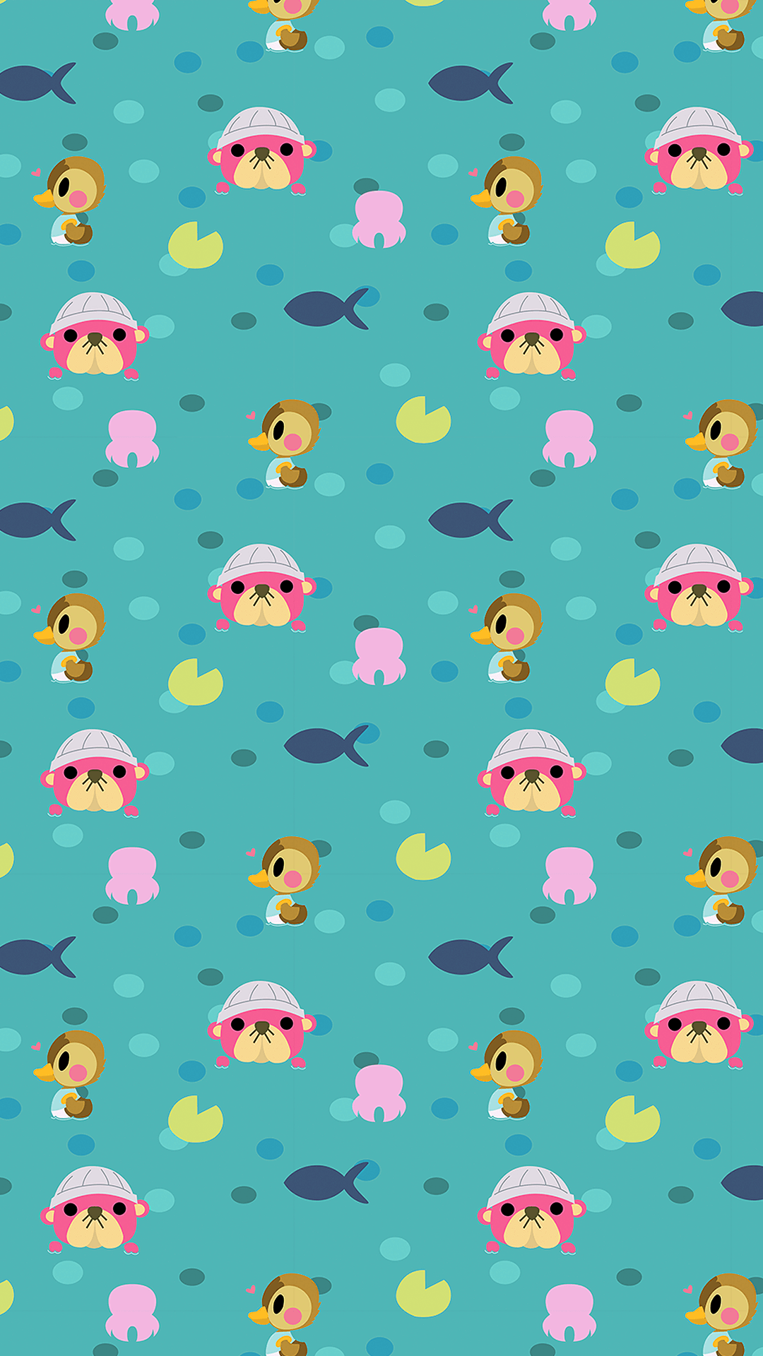 pink animal crossing phone wallpaper