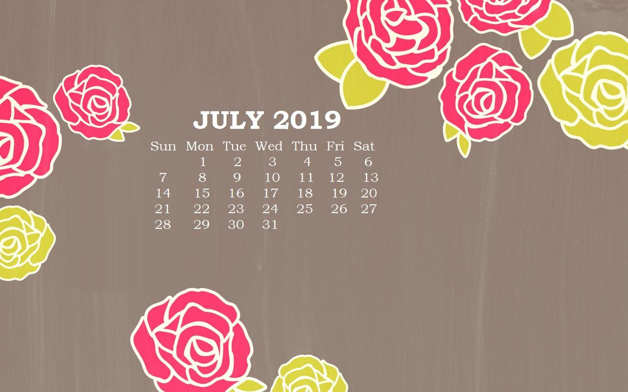 July 2019 Desktop Calendar Wallpapers