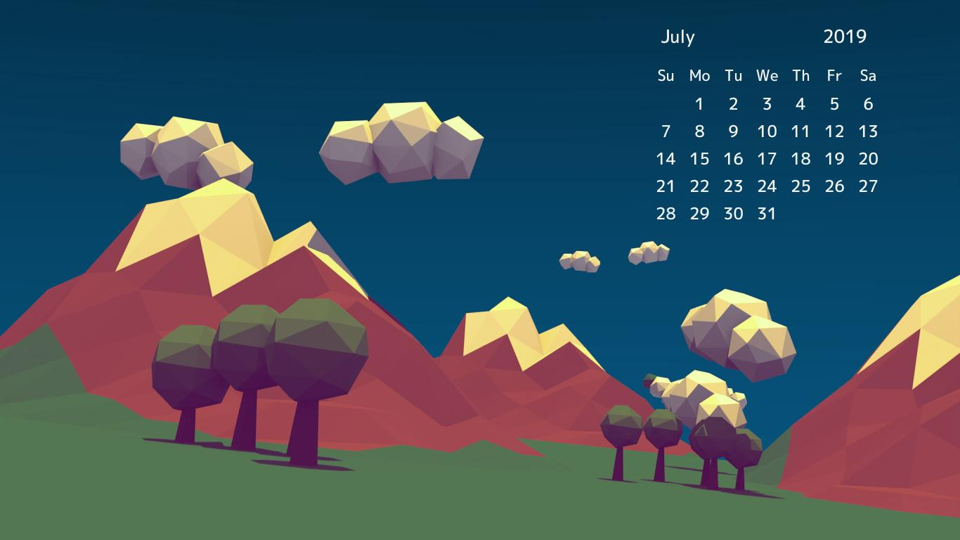 June 2019 Desktop Calendar Wallpapers