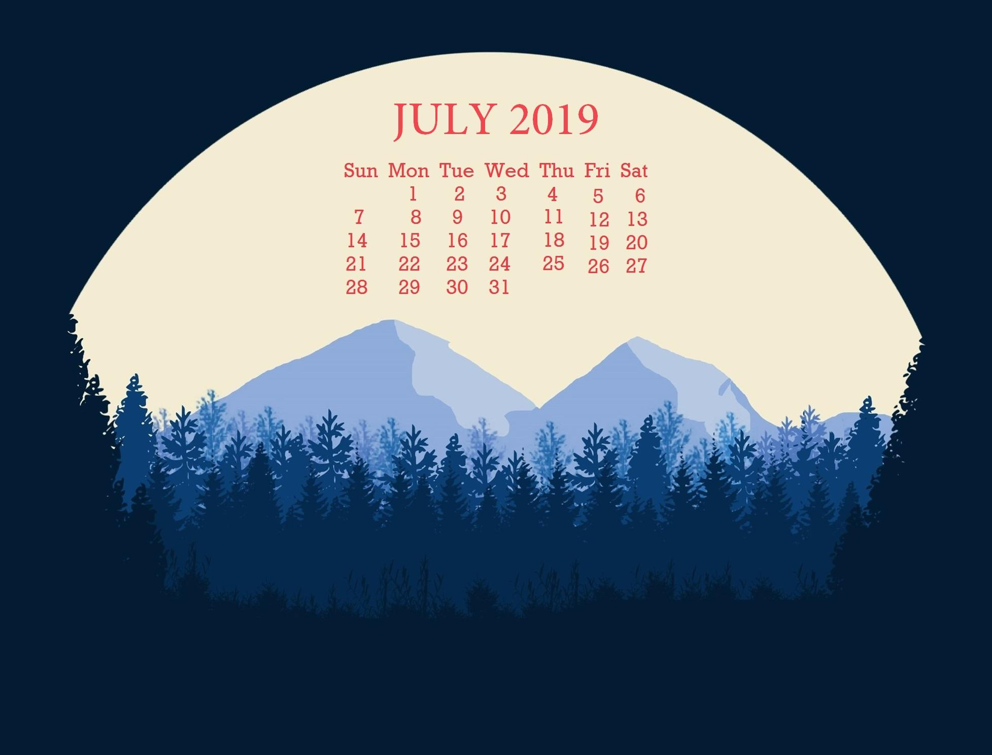 July 2019 Desktop Wallpapers Calendar