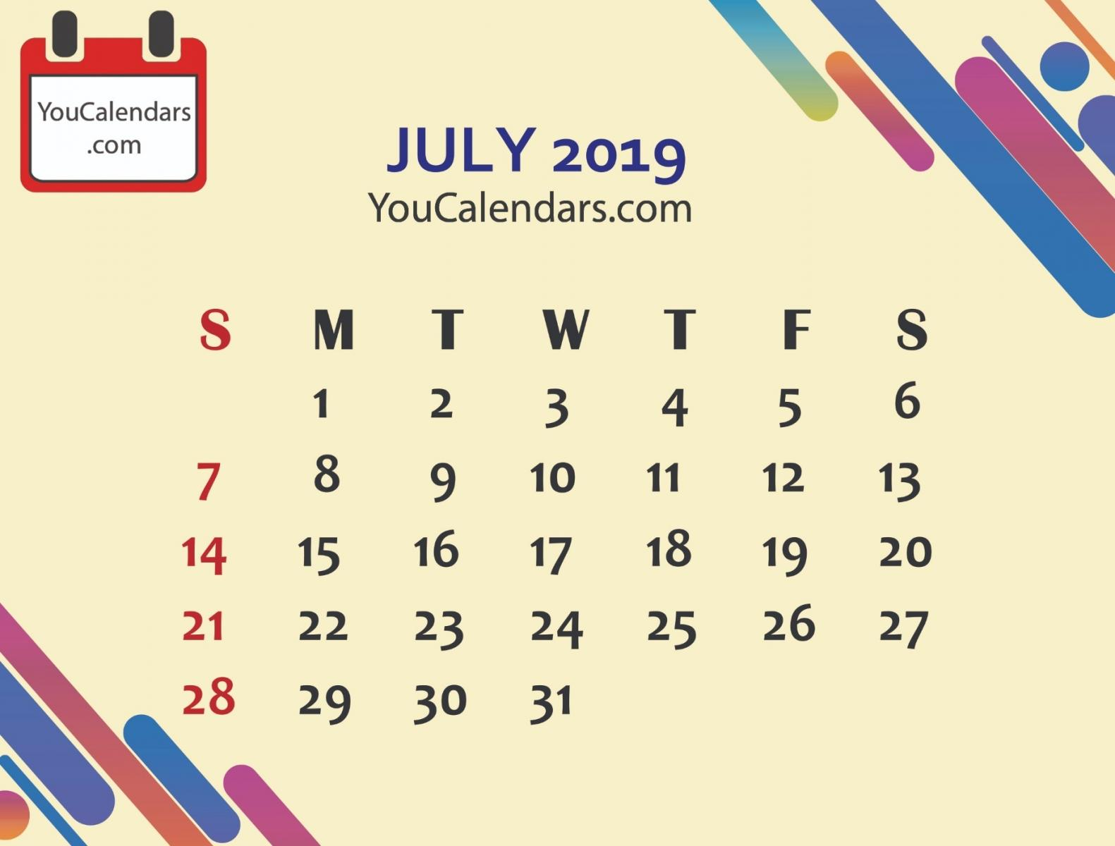July 2019 Calendar HD Wallpapers
