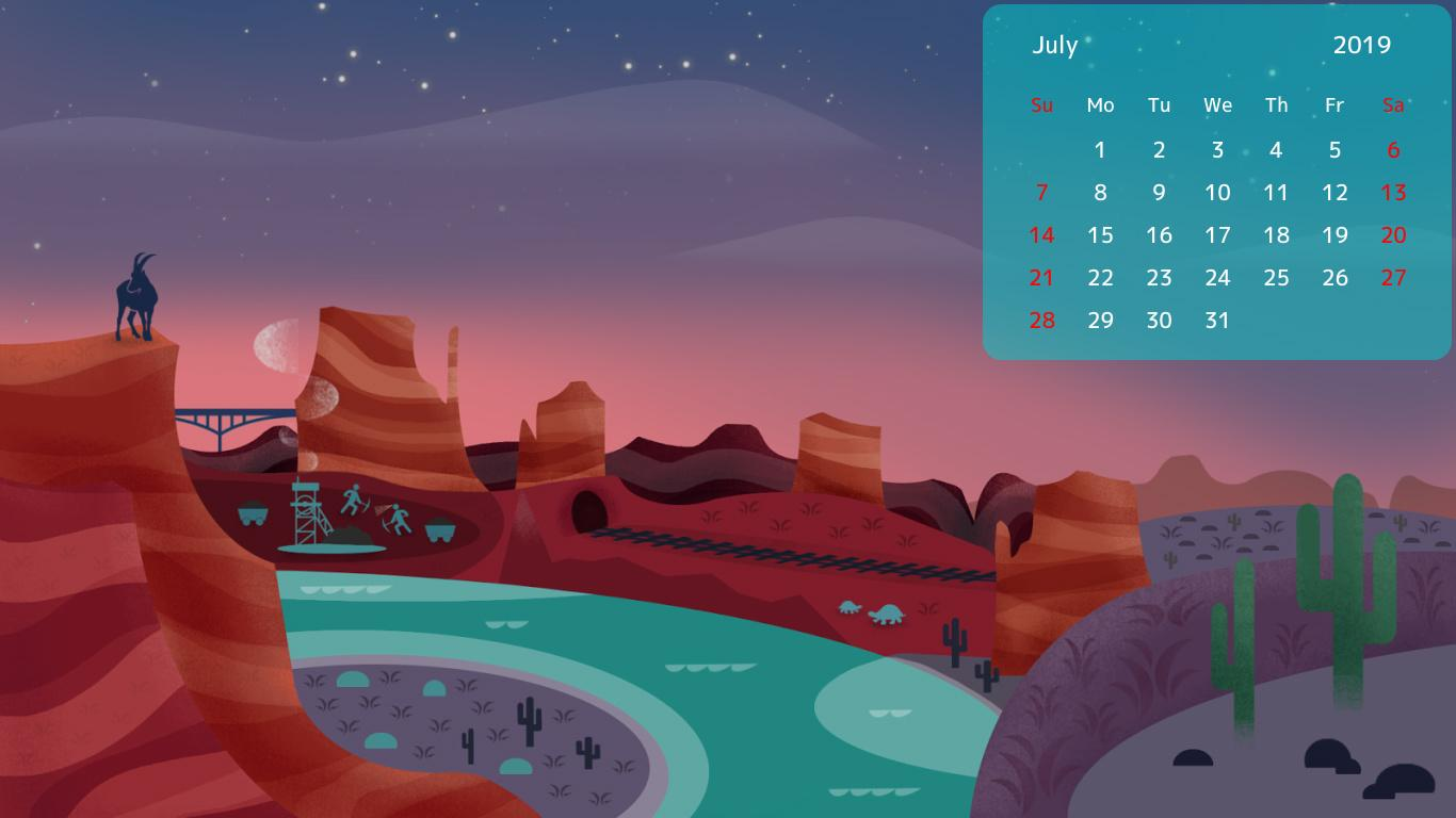 July 2019 Calendar Desktop Wallpapers