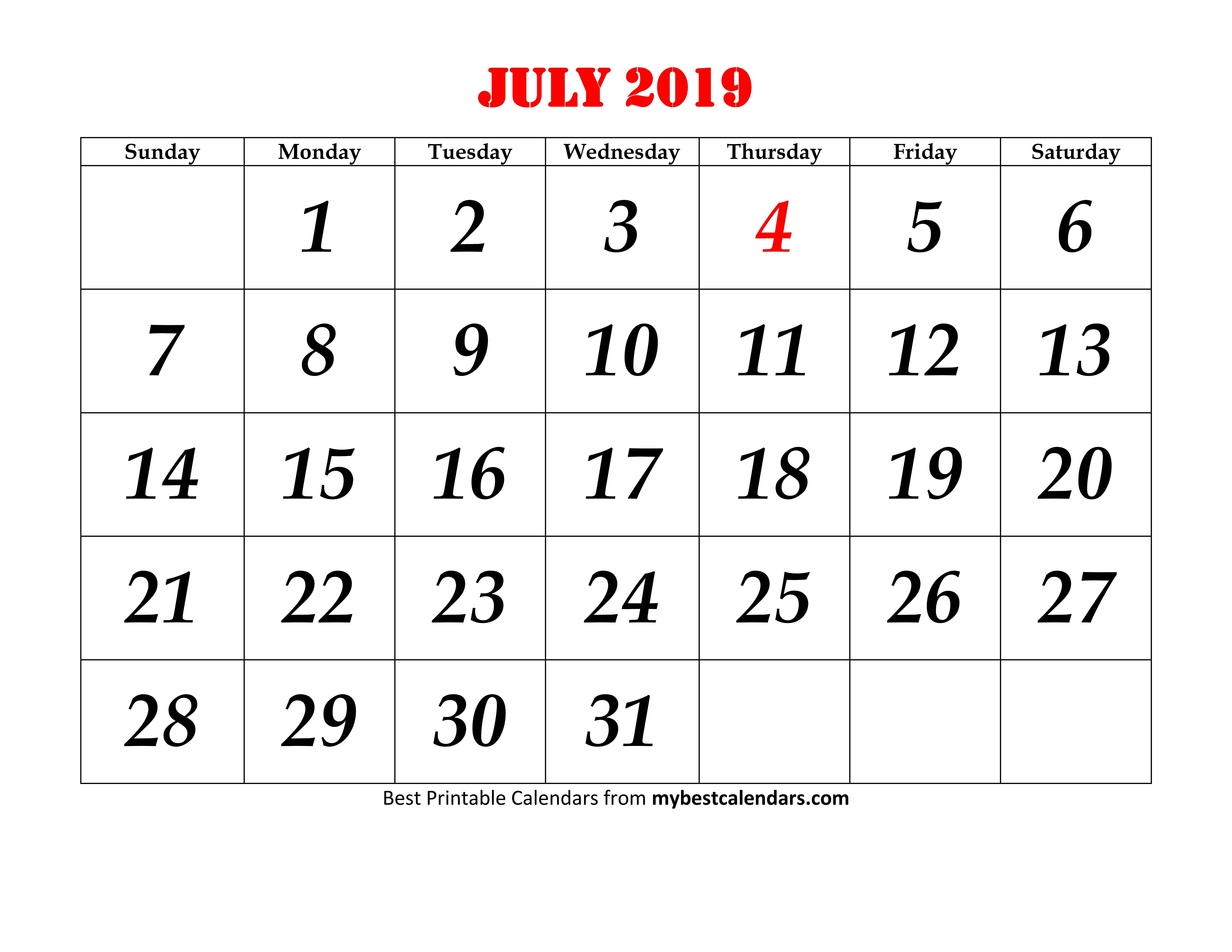 Blank July 2019 Calendar Printable Template