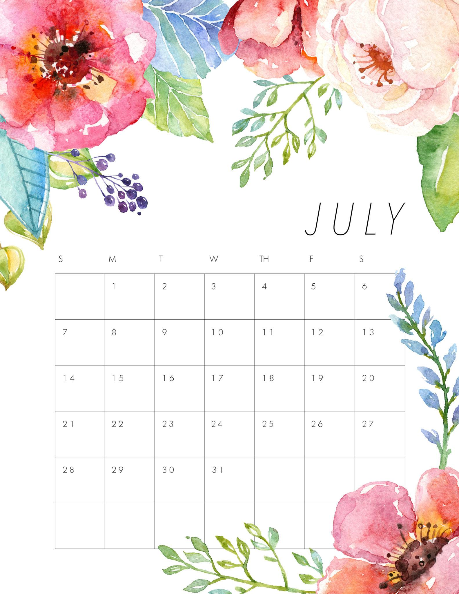 Cute July 2019 Calendar Pink Designs Floral Wall Calendar