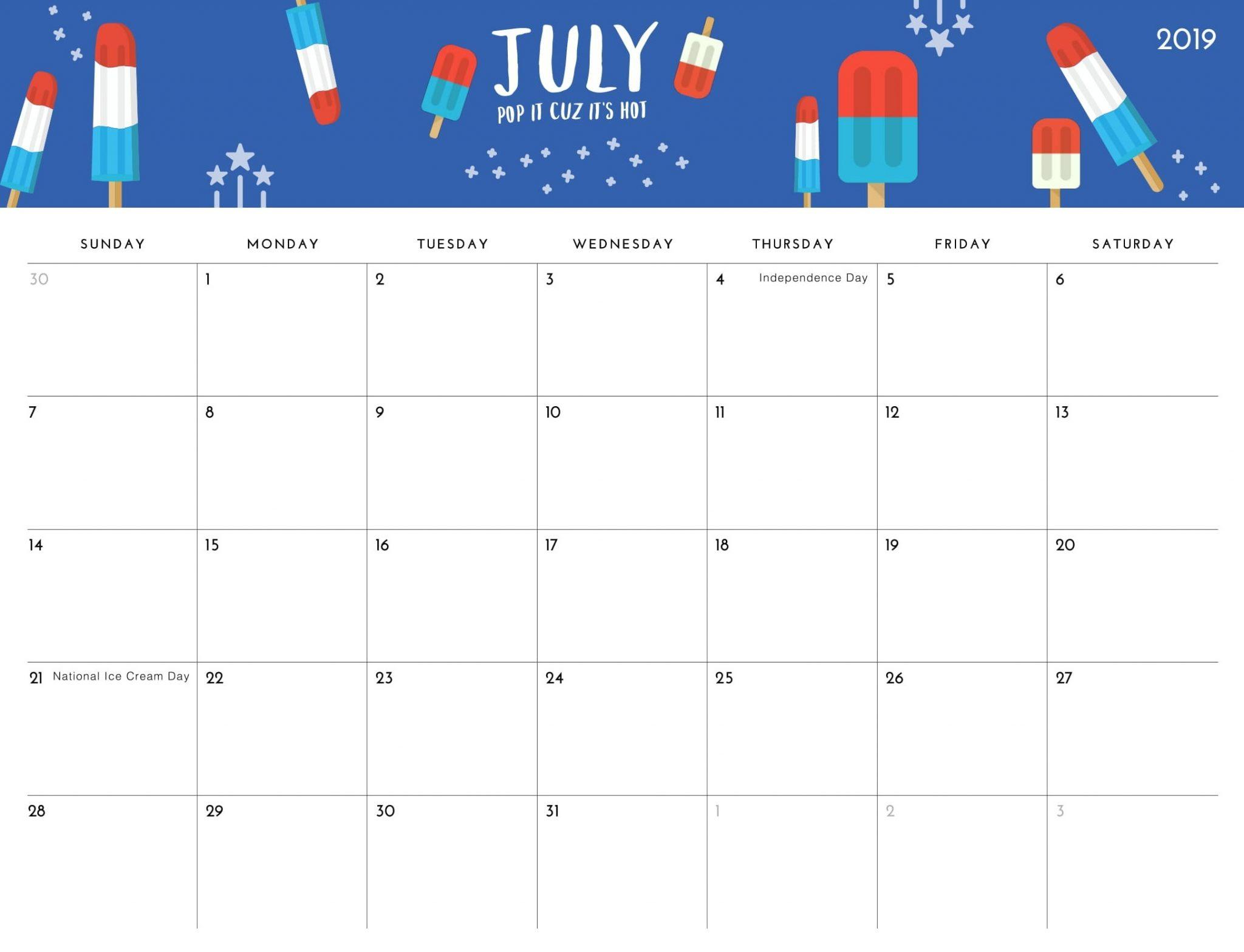Cute July 2019 Calendar Floral Wallpapers Desk Image Free Download