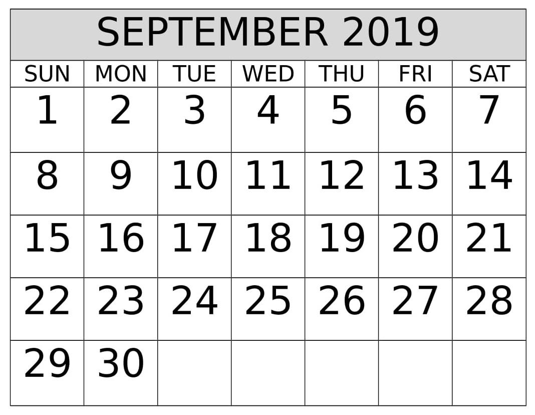September 2019 Calendar – Free Printable Calendar & Holidays