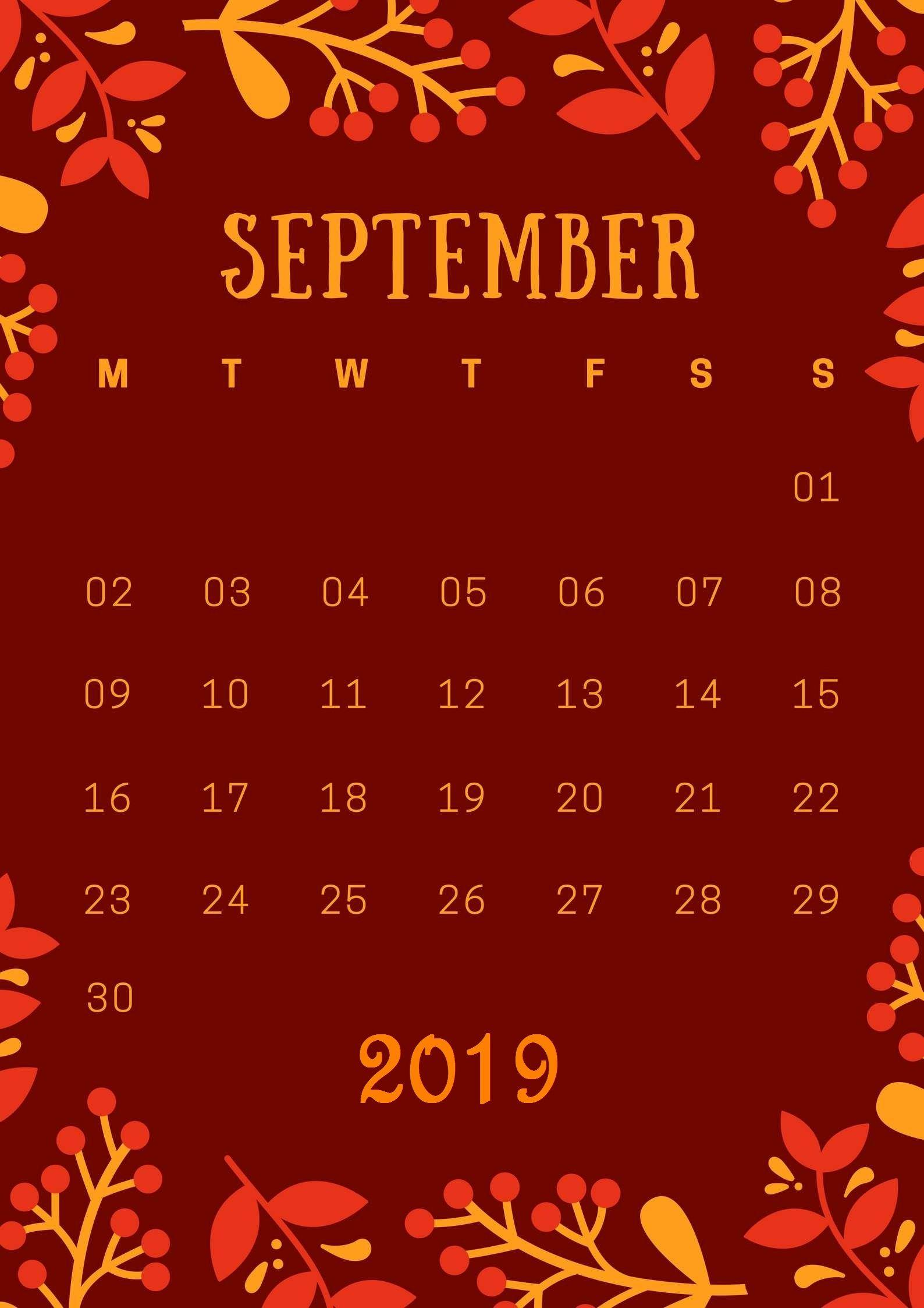 September 2019 Calendar Wallpapers - Wallpaper Cave
