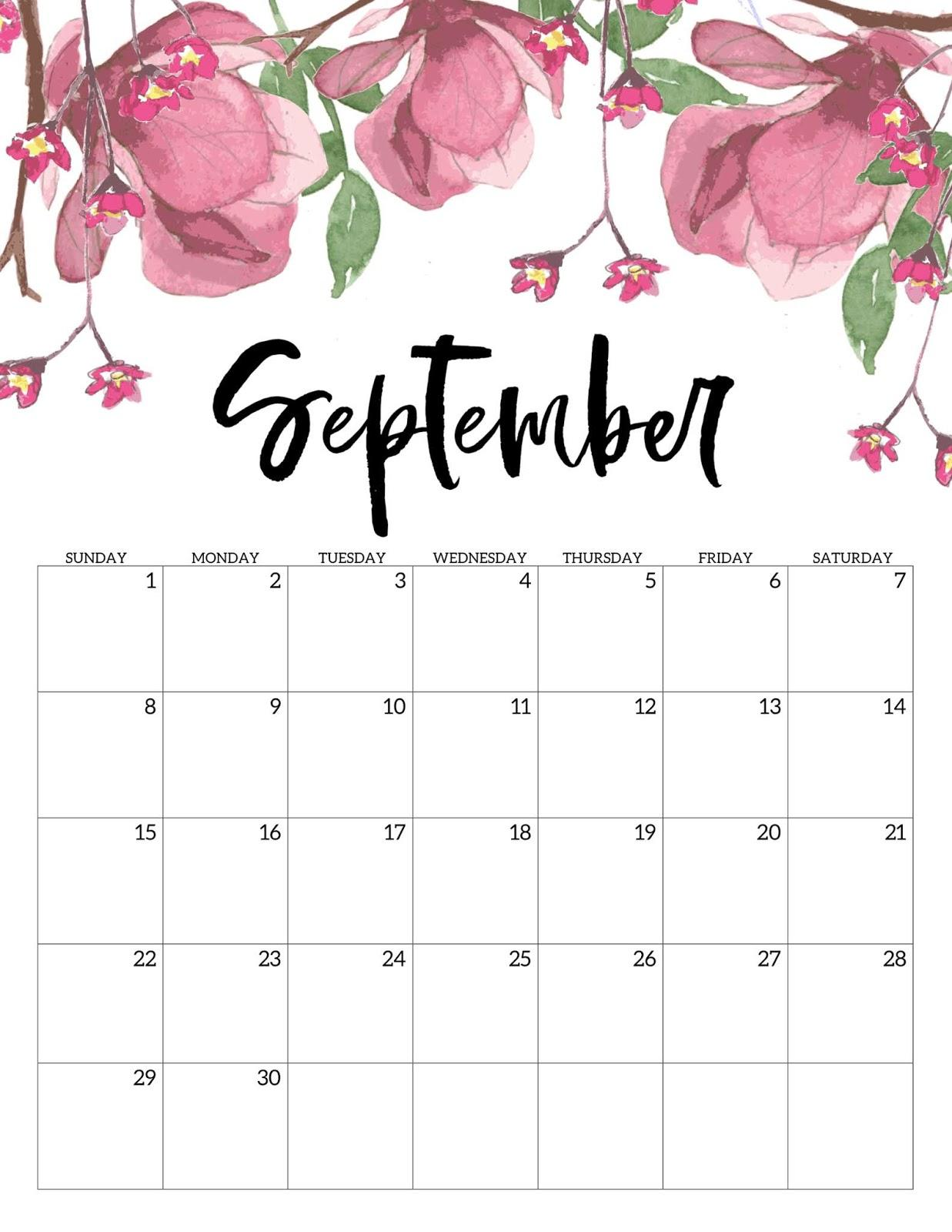 Free September 2019 Calendar Printable Blank Templates