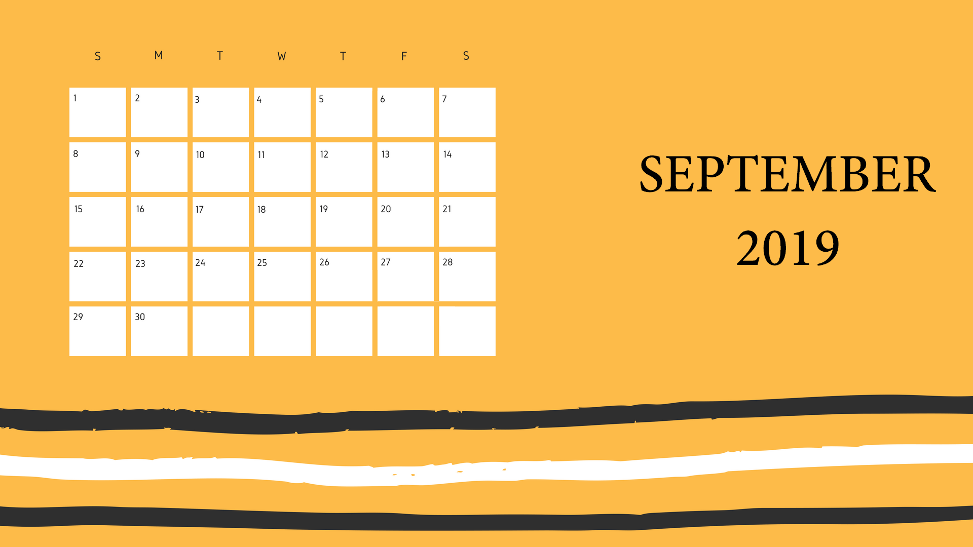 Cute September 2019 Calendar Printable Template