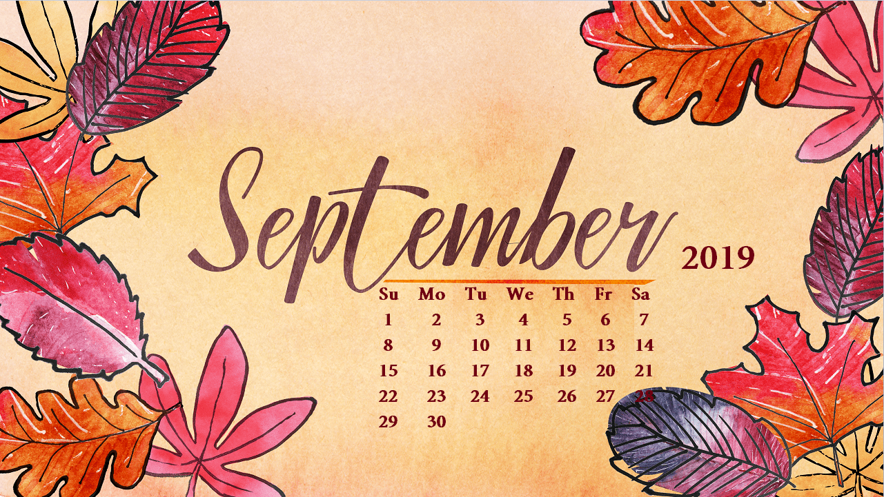 September 2019 Desktop Calendar Wallpapers