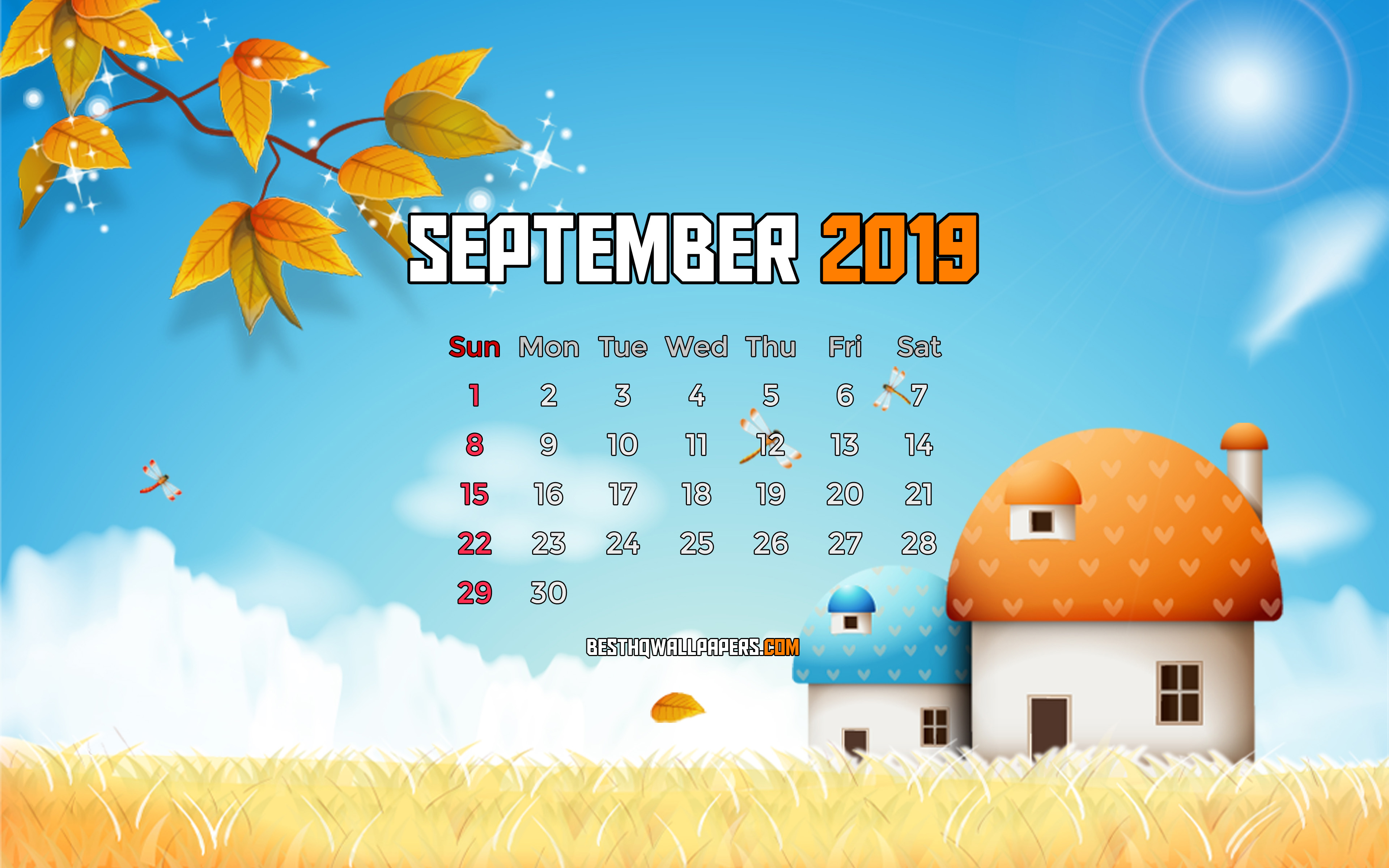 Download wallpapers September 2019 Calendar, 4k, autumn landscape