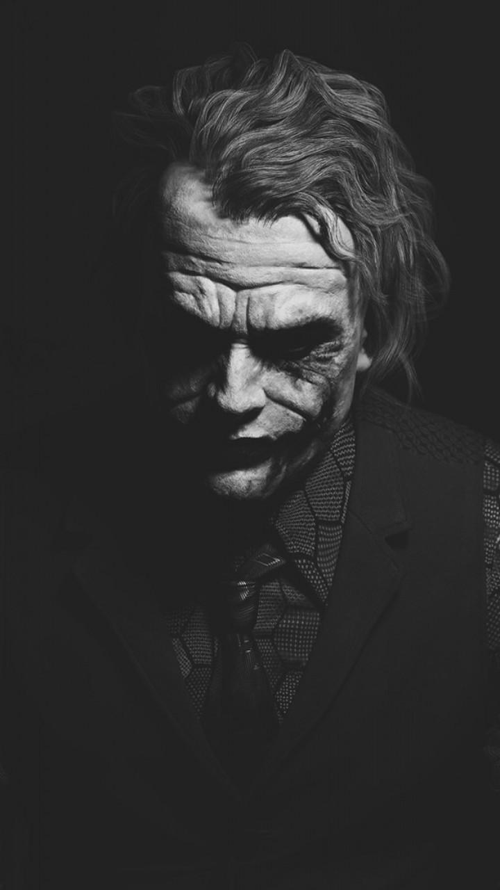 Download 720x1280 Heath Ledger, Joker, Monochrome, Batman Wallpapers