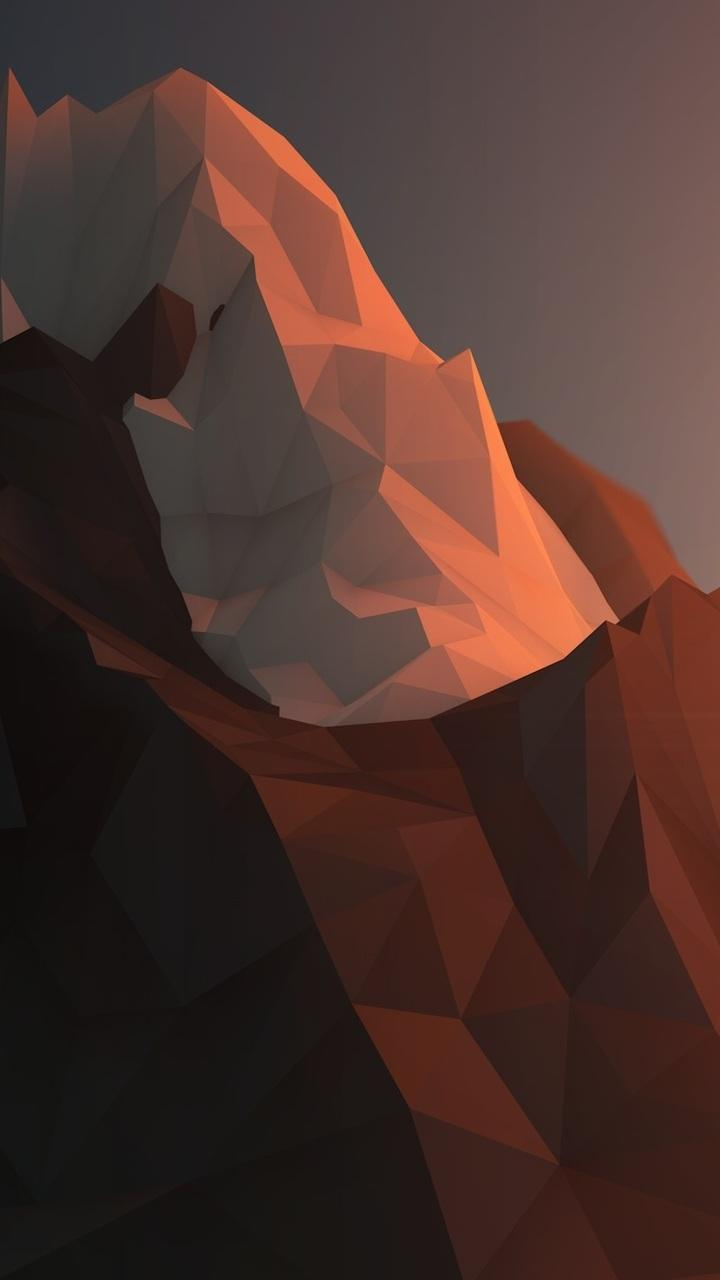720x1280 geometry, snow, rock, rendering, minimalism, mountains, ice