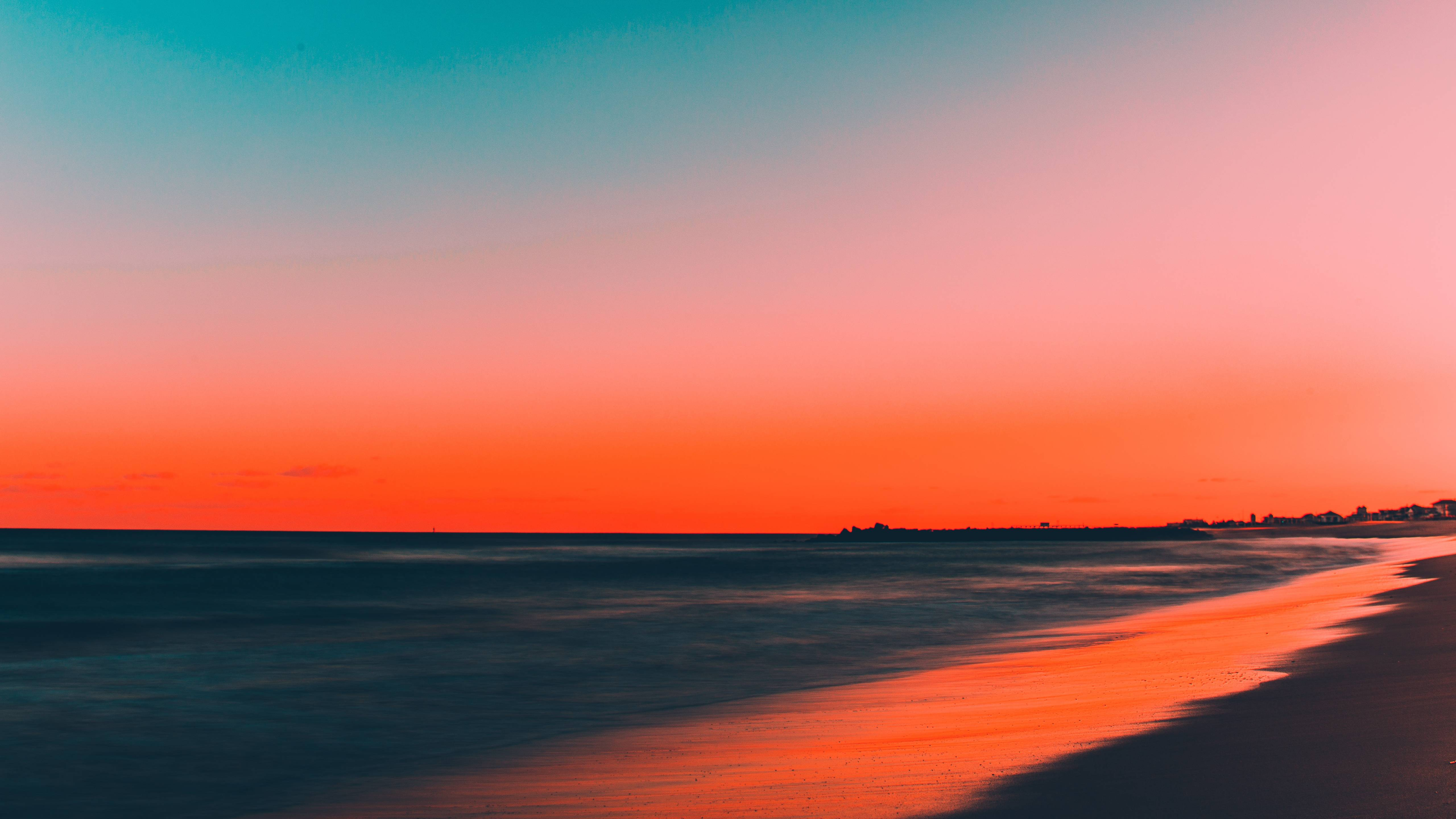 Download 5120x2880 wallpapers beach, clean sky, skyline, sunset, 5k