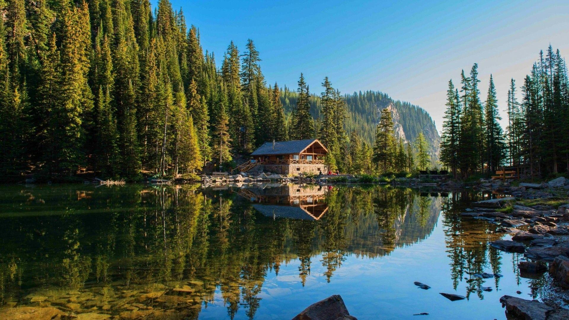 Mountain Cabin Lake Trees Nature Landscape HD POSTER
