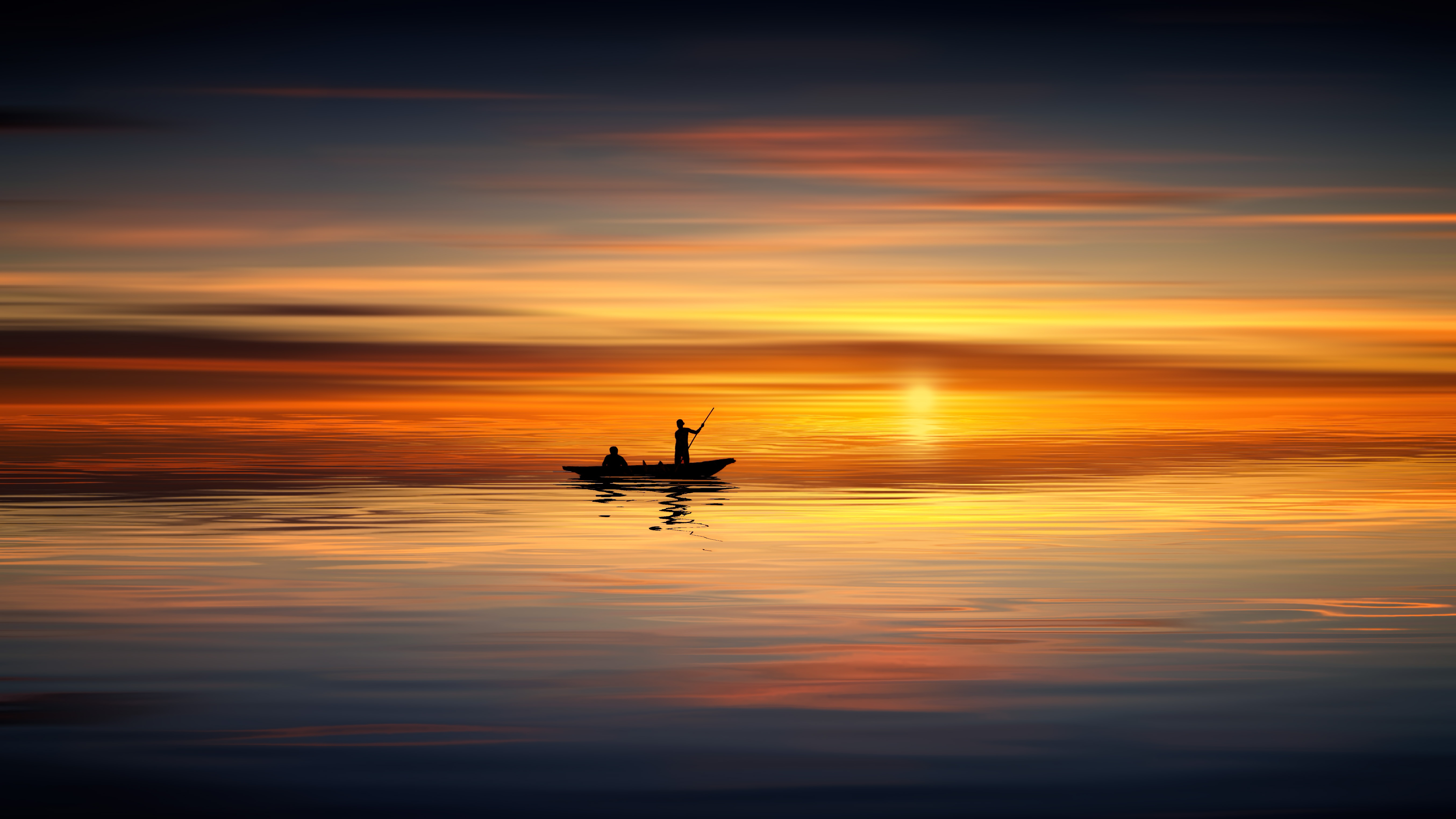 Sailing Sunset Boat Sea Ocean Nature Landscape HD POSTER