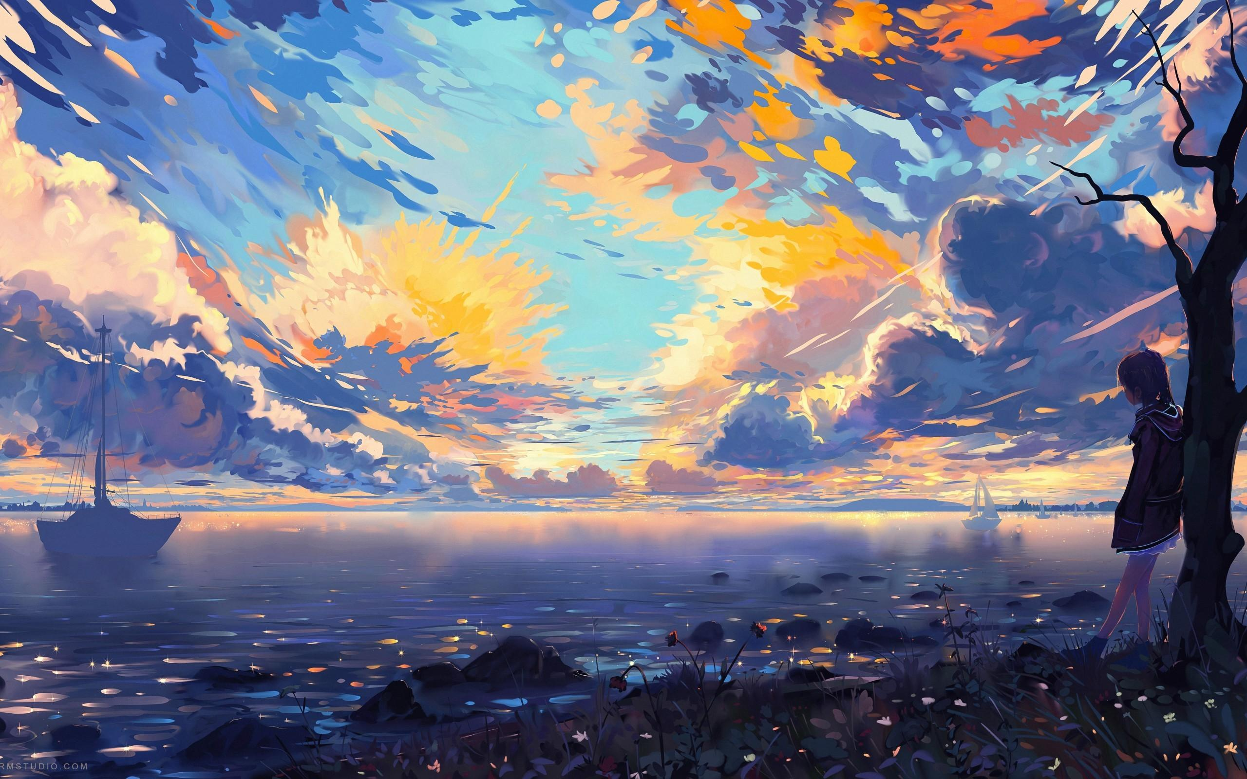 Download 2560x1600 Anime Landscape, Sea, Ships, Colorful, Clouds