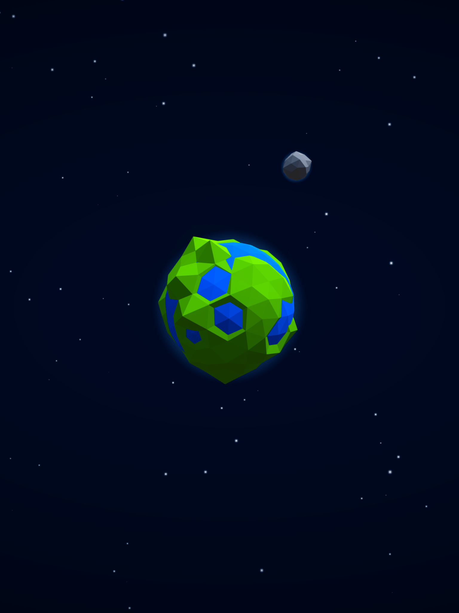 Download 1536x2048 Low Poly, Earth, Galaxy, Stars, Moon Wallpapers