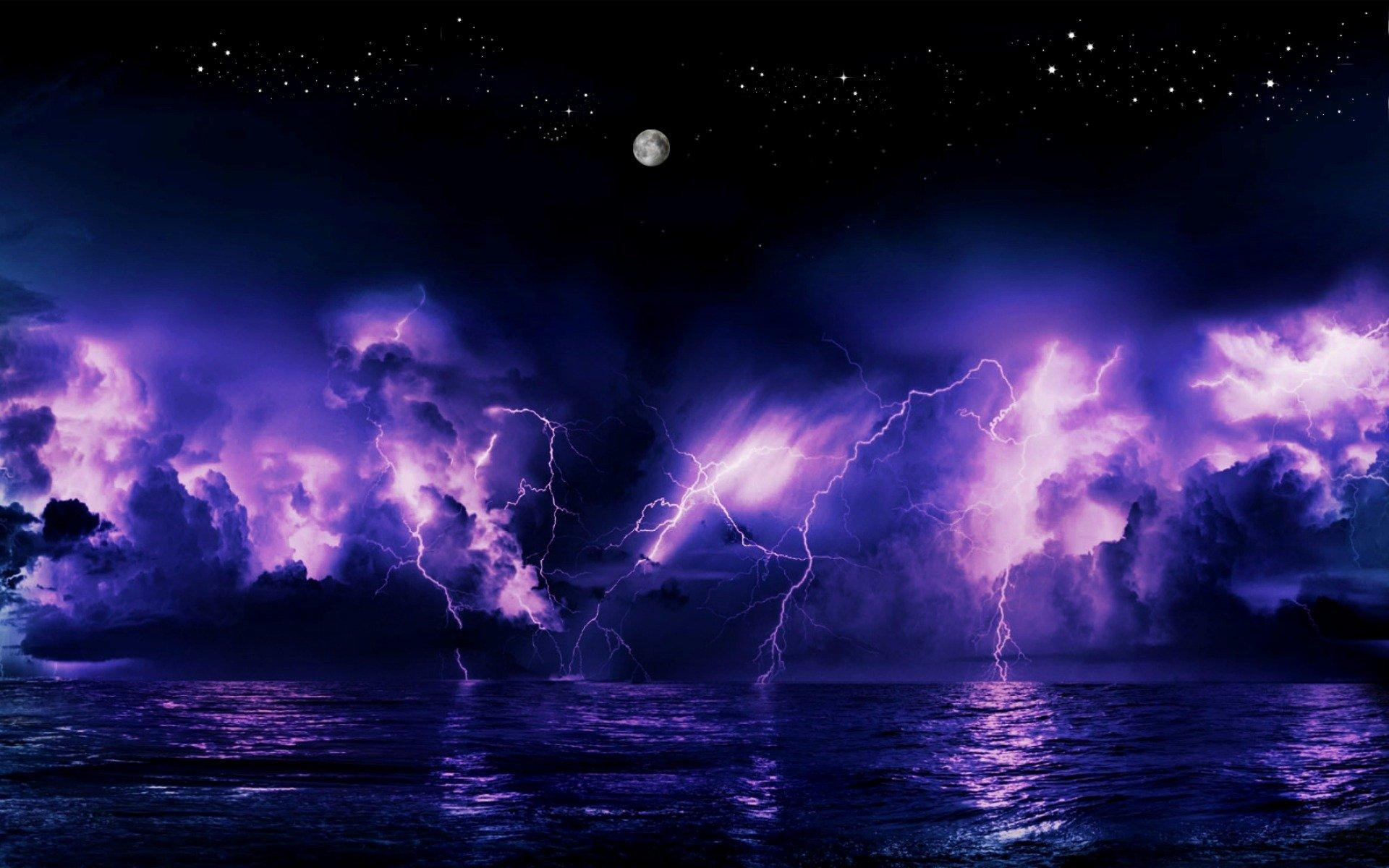 Purple Sunset and Lightning Storm HD Wallpapers