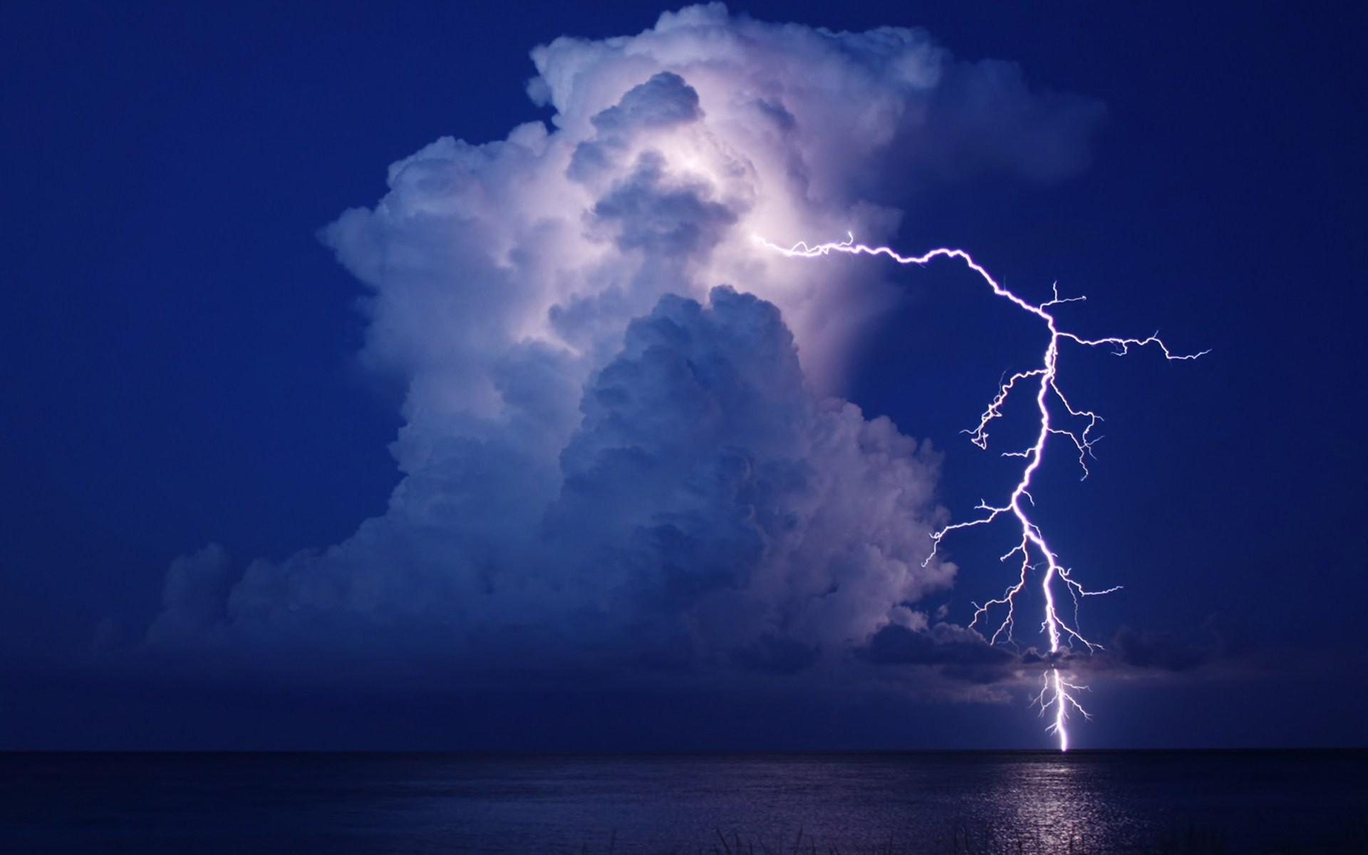 Reflection, Night, Storm, Landscapes,sky,lightning, Cool Image, Sea