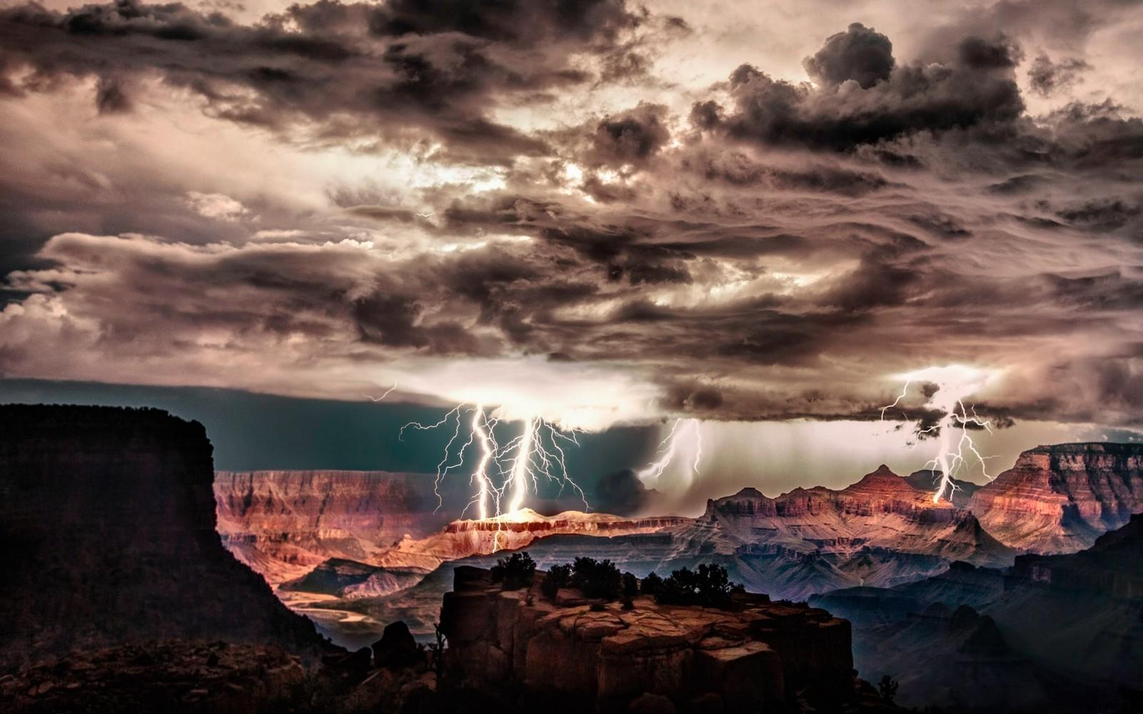 Grand Canyon, Lightning, Storm, Clouds, Night, Cliff, Erosion