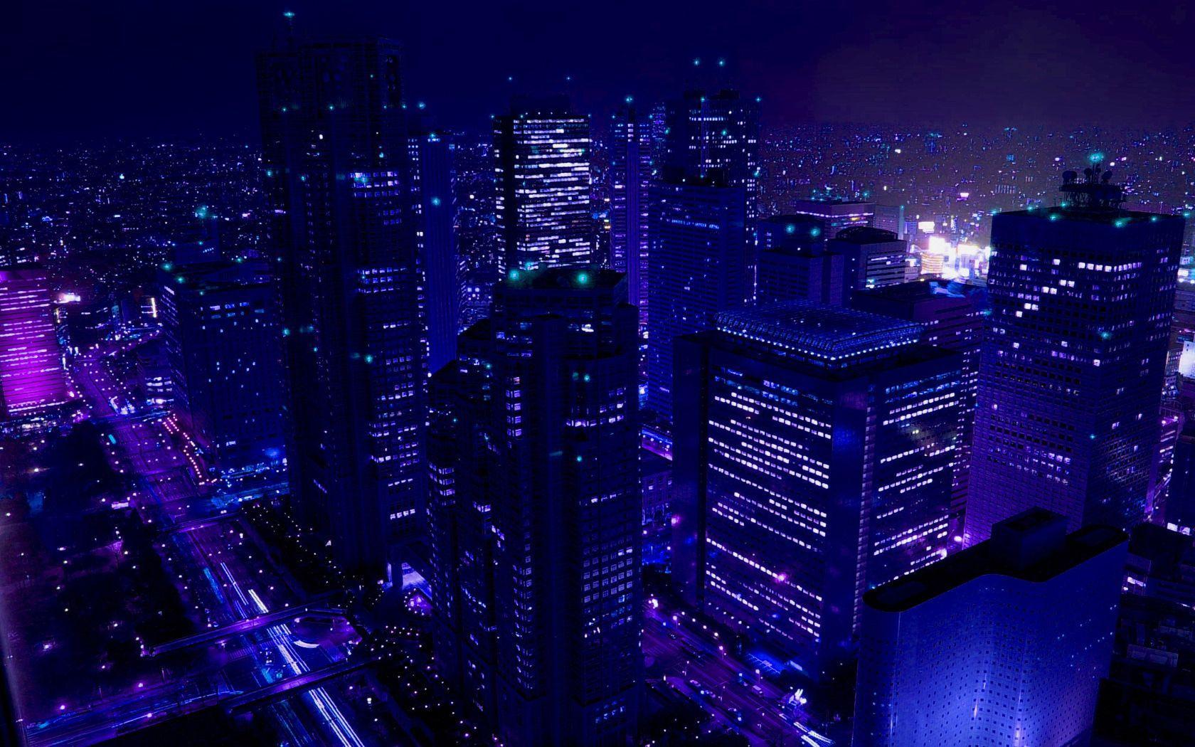 blue anime aesthetic city
