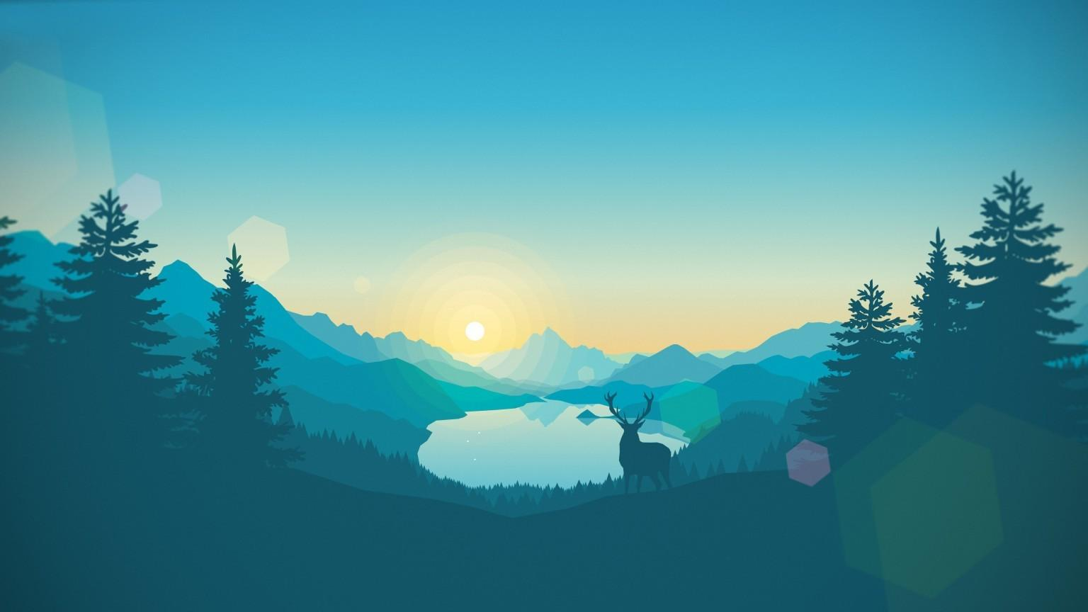 Download 1536x864 Firewatch, Deer, Forest, Night Wallpapers