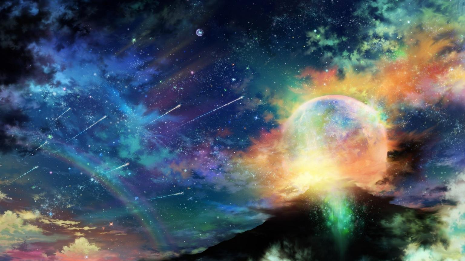 Colorful Space Landscape 1536 x 864 HDTV Wallpapers