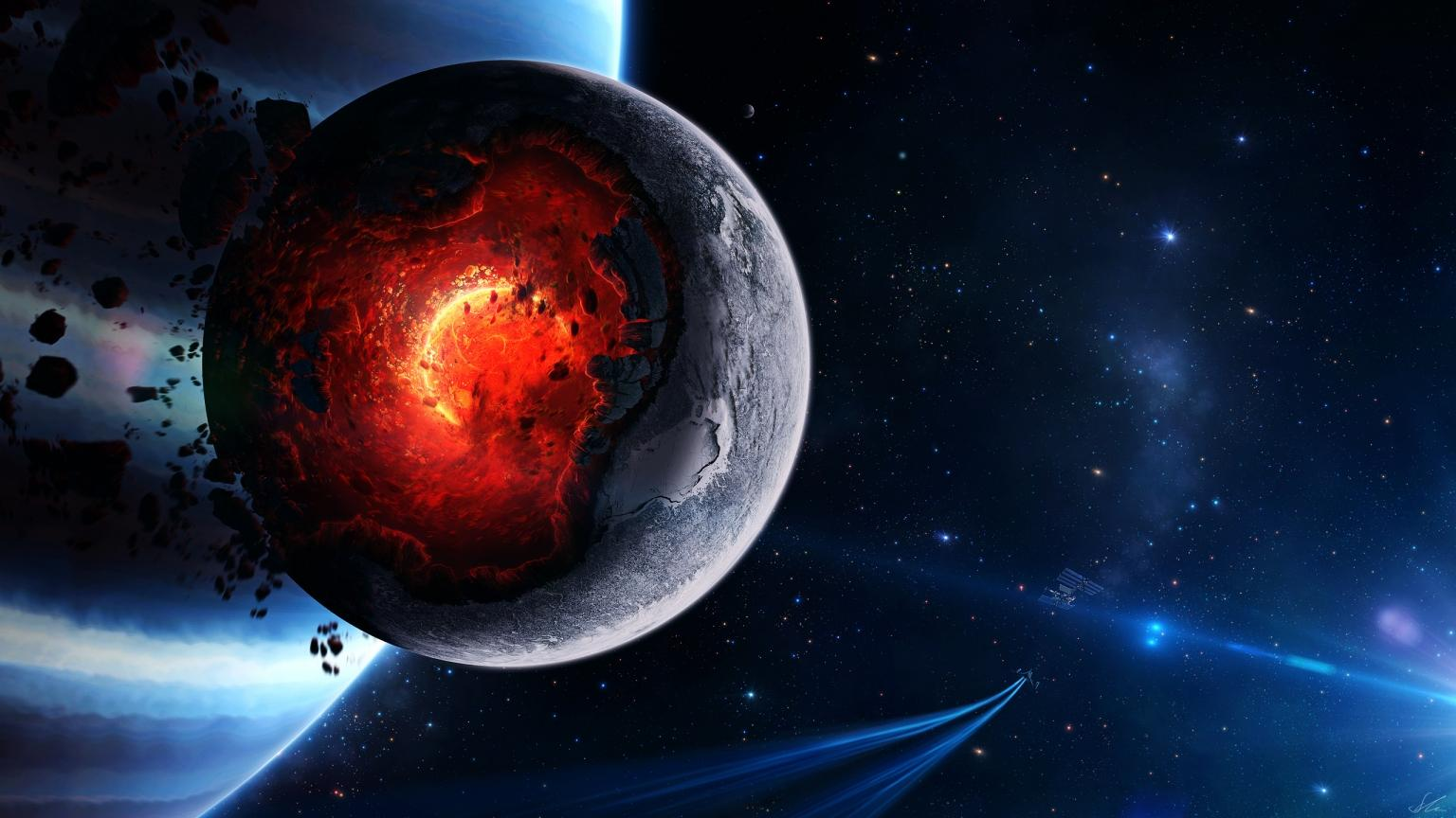 Space Planet Disaster 1536 x 864 HDTV Wallpapers