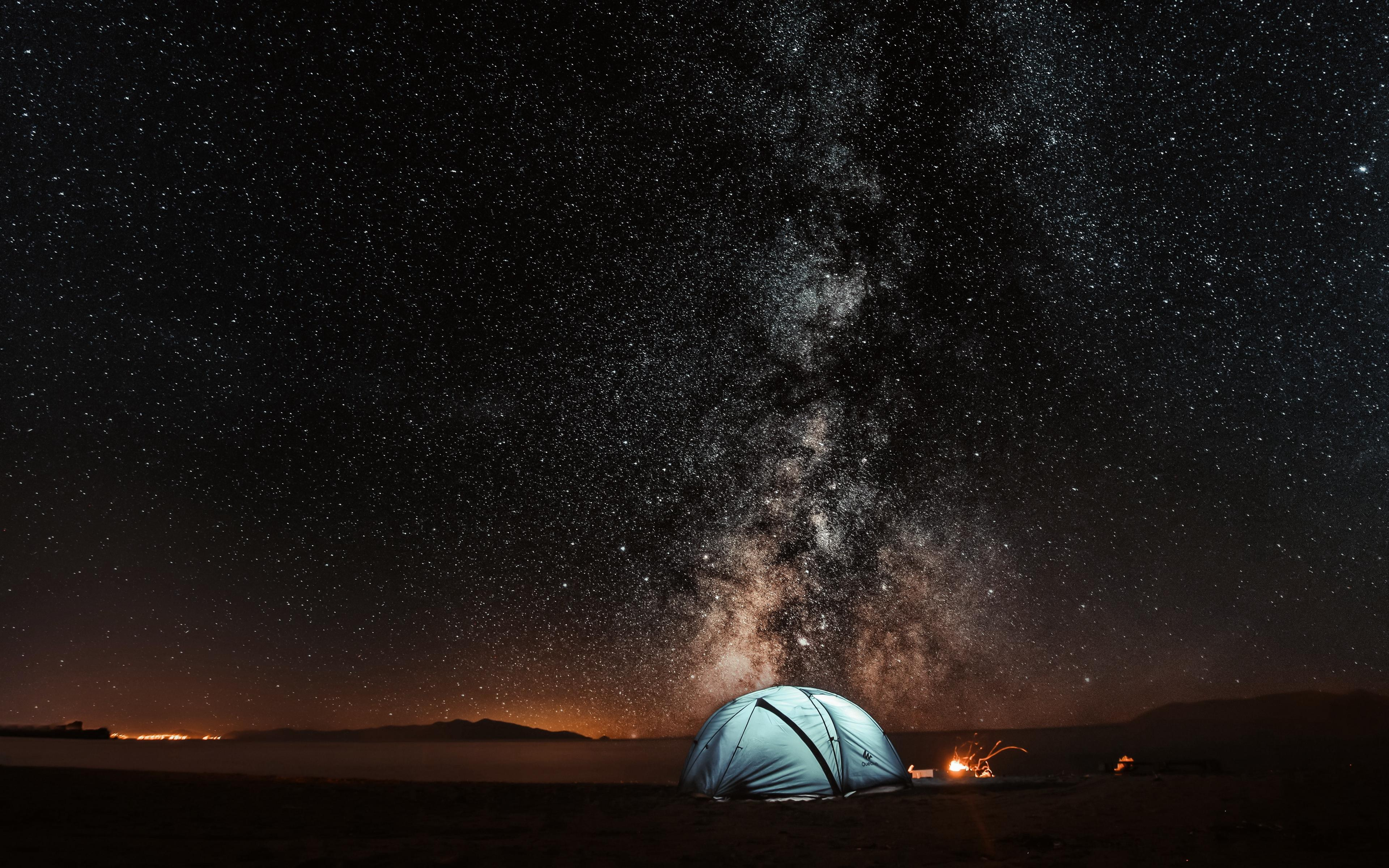 Download wallpapers 3840x2400 tent, starry sky, night, tourism 4k