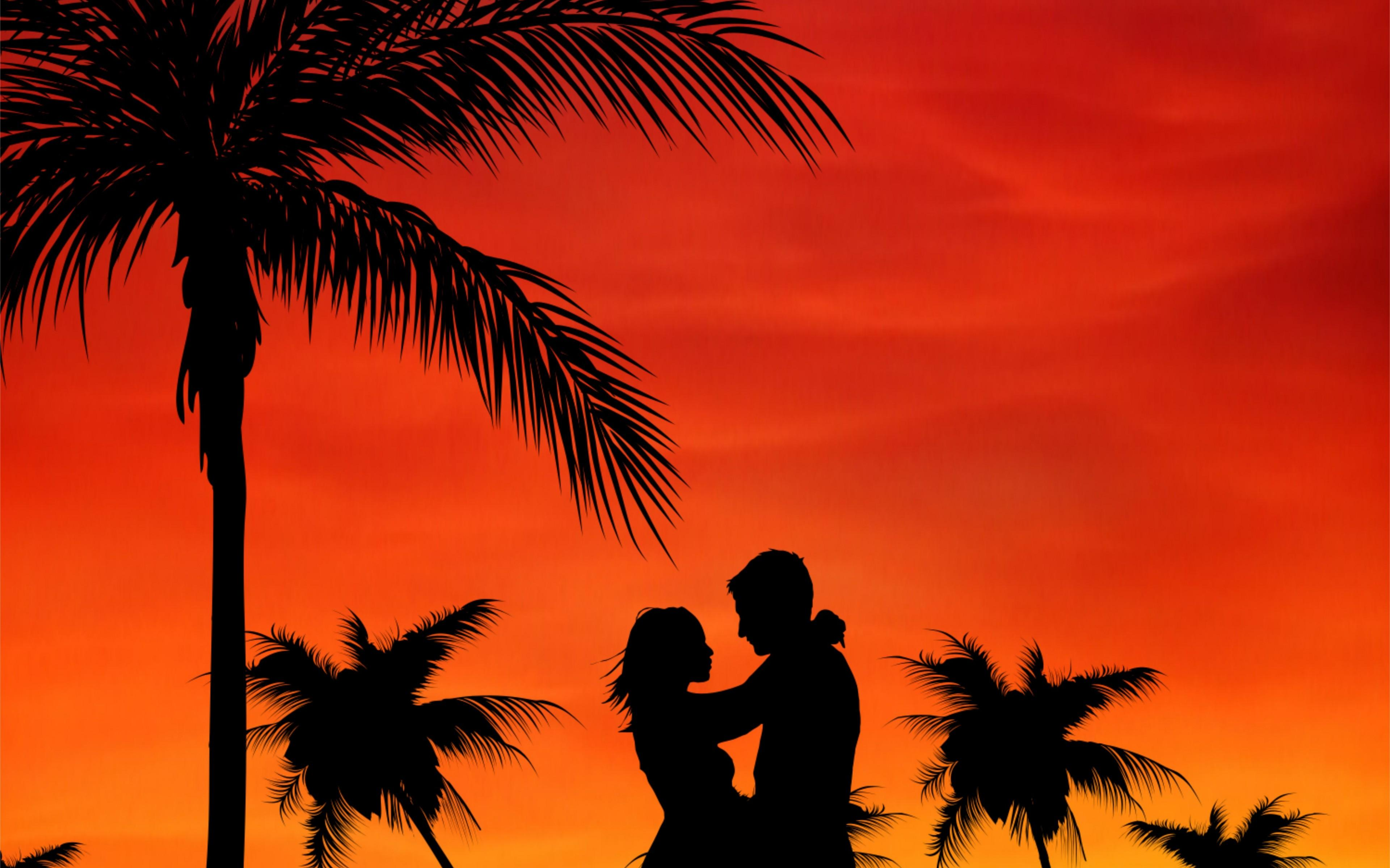 Wallpapers Couple, Love, Palms, Sunset 3840x2400