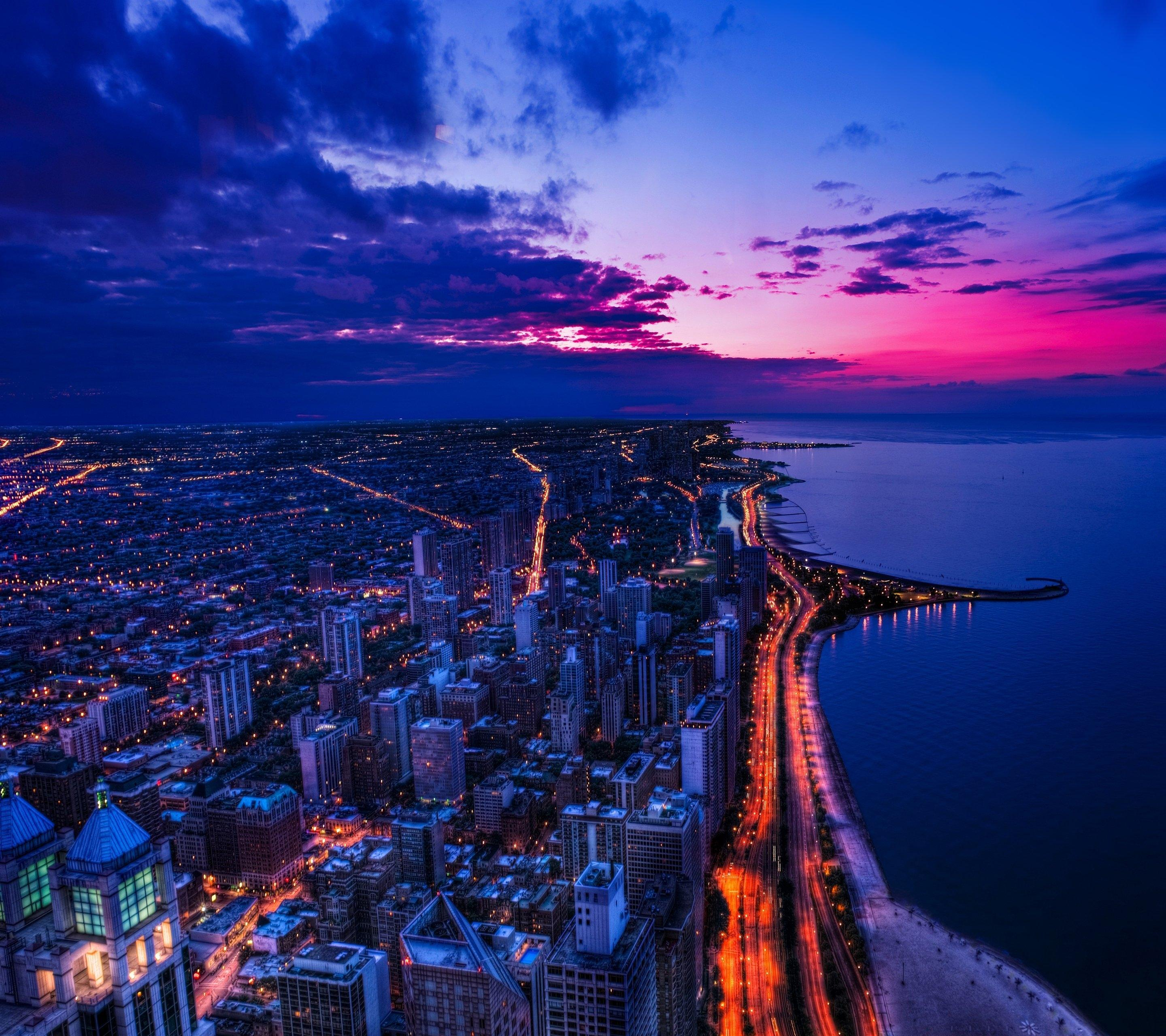 Download 2880x2560 Usa, Chicago, Sunset, Cityscape, Road, Lights