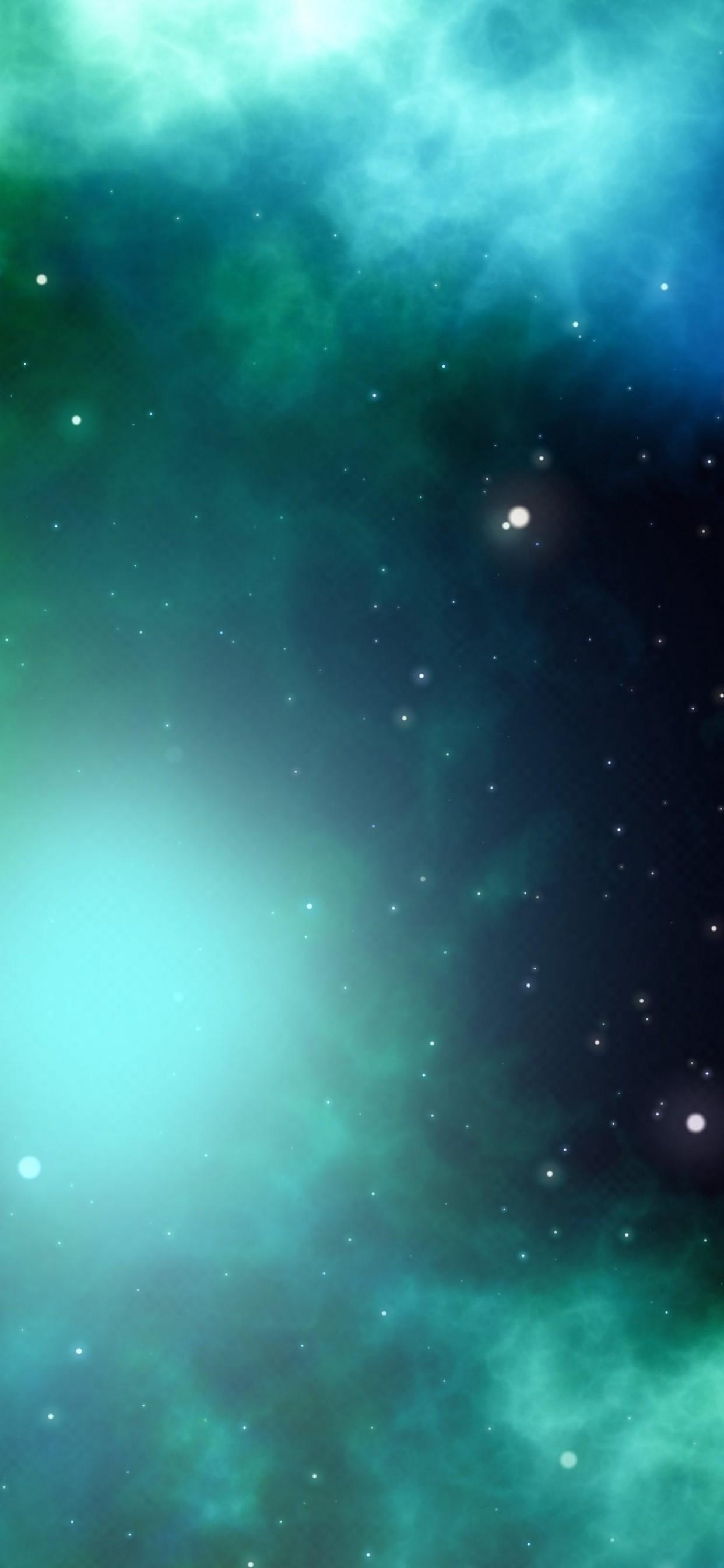 Download 1242x2688 Green Nebula, Stars, Cosmos, Galaxy Wallpapers