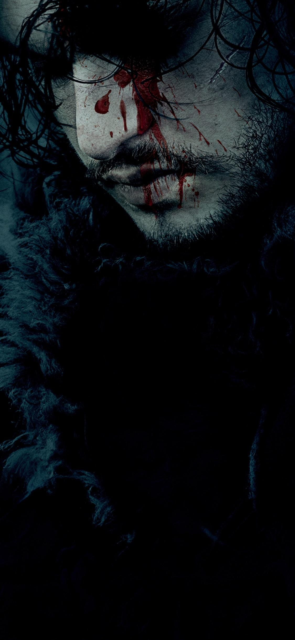 Game of Thrones, face, blood 1125x2436 iPhone XS/X wallpapers