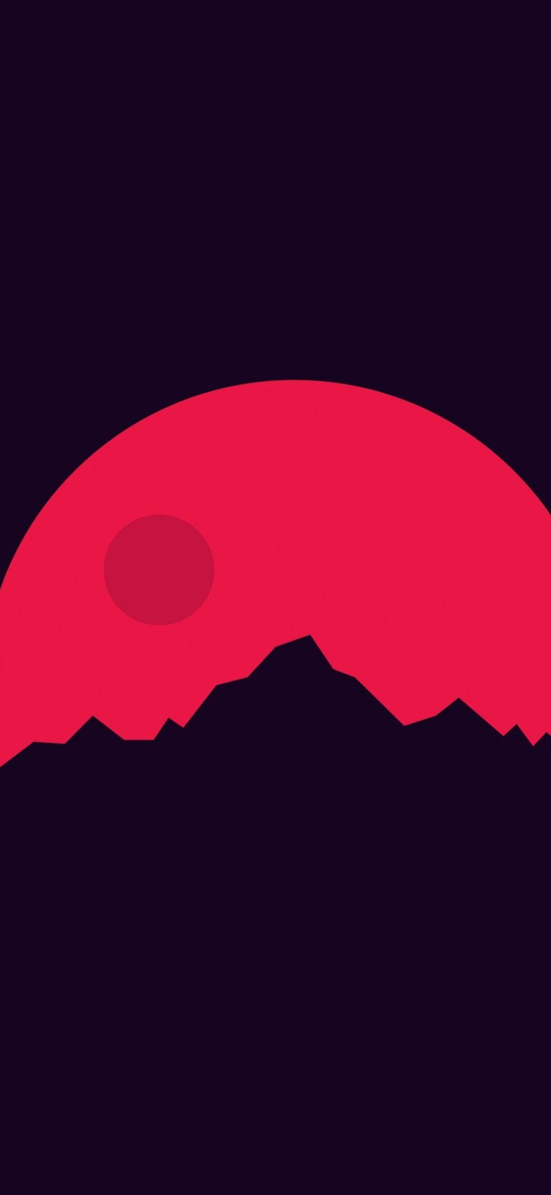 Mountains, Mars, minimal, 1125x2436 wallpapers