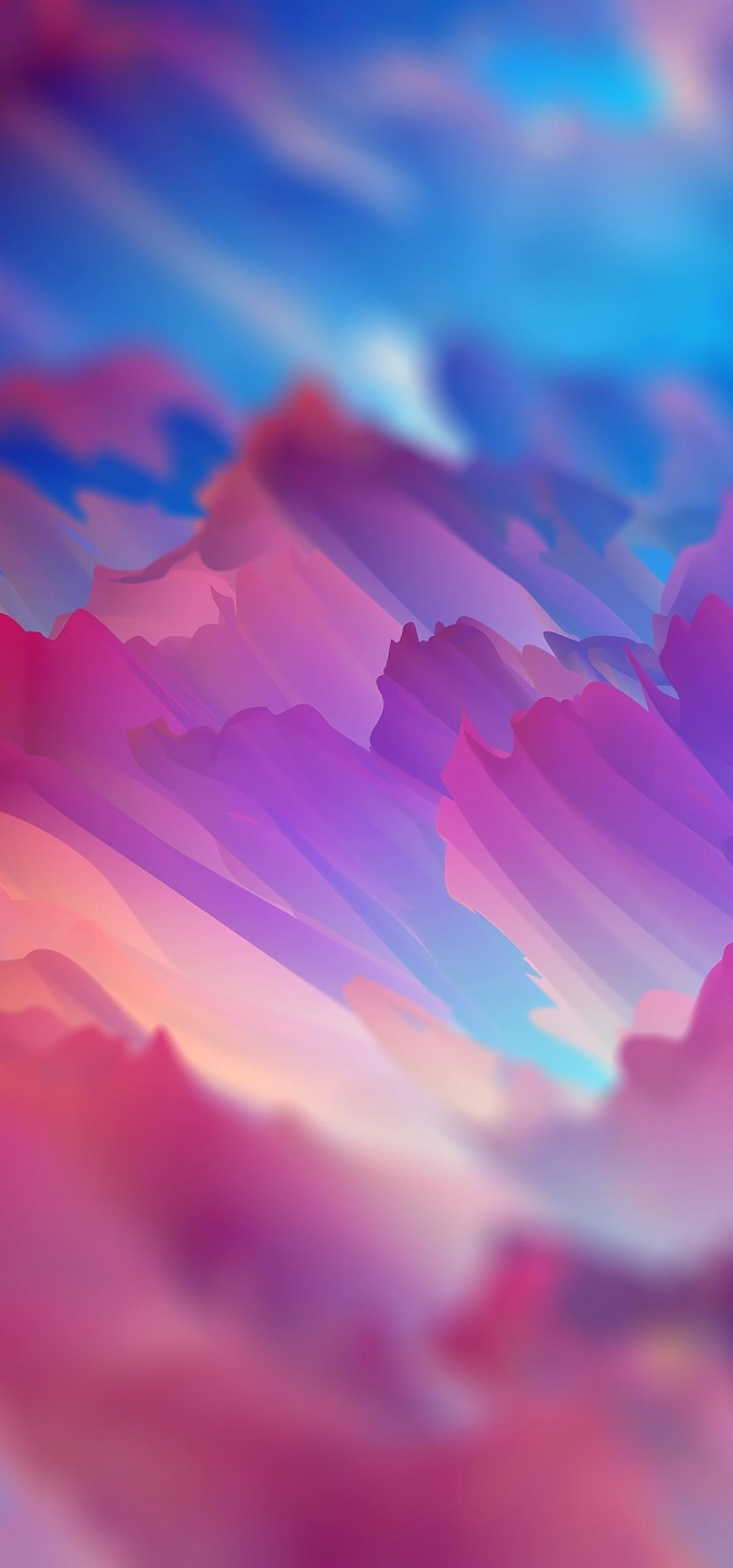 Download 1080x2310 Colorful Clouds, Blurry, Painting Wallpapers for