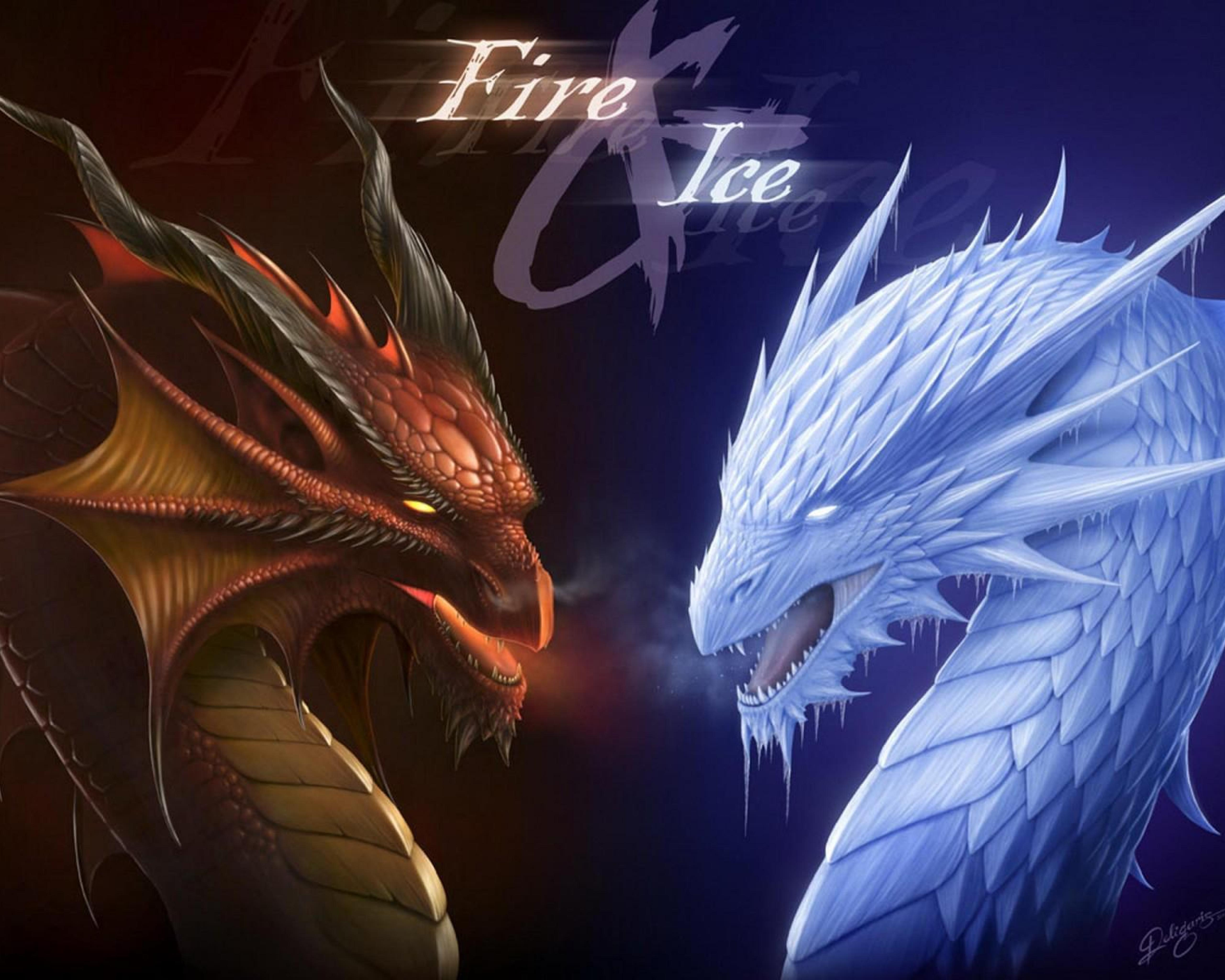 5120x4096 fire dragon fantasy fire and ice frost 26387 download