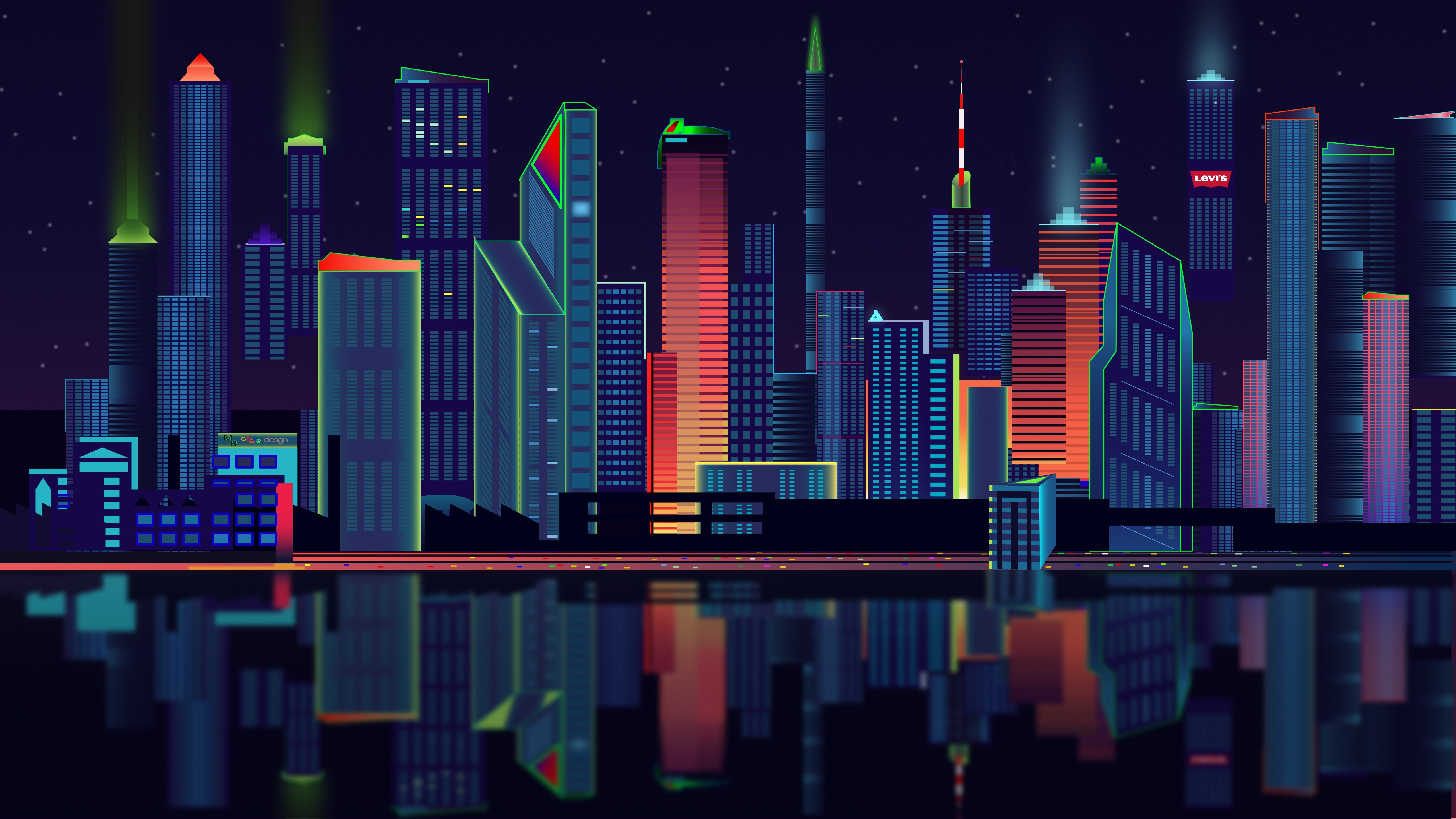 Download wallpapers 5120x2880 city, vector, panorama hd backgrounds
