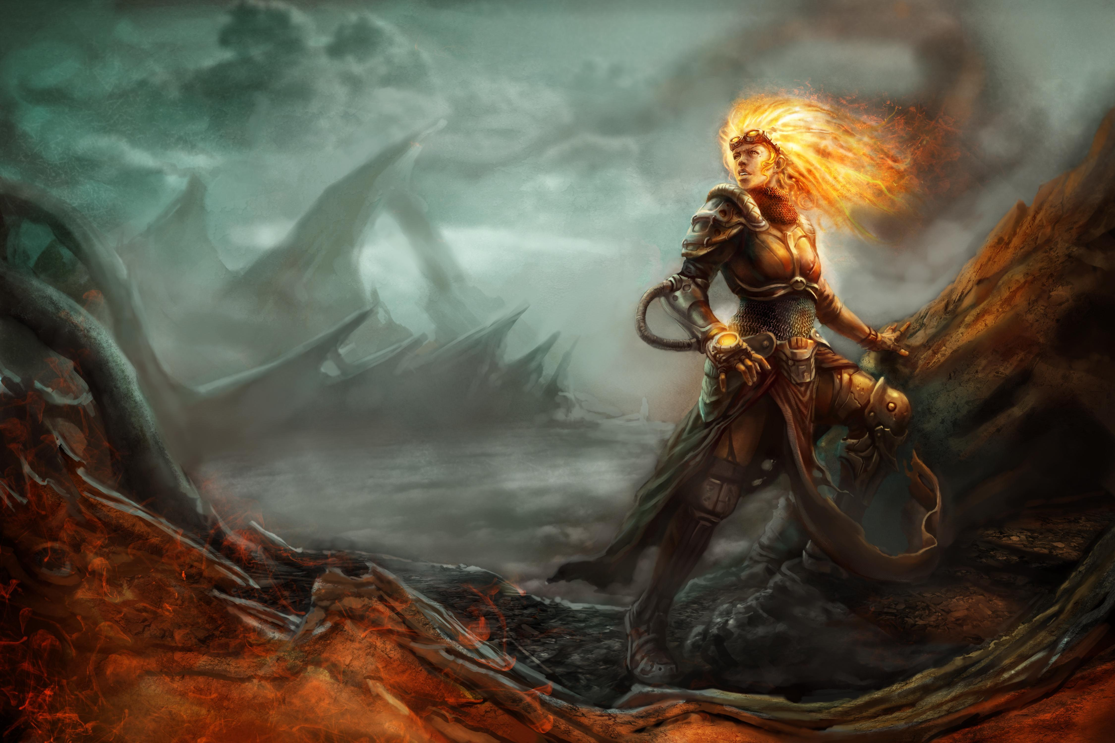 Download wallpapers 4500x3000 magic, the gathering, chandra, art hd