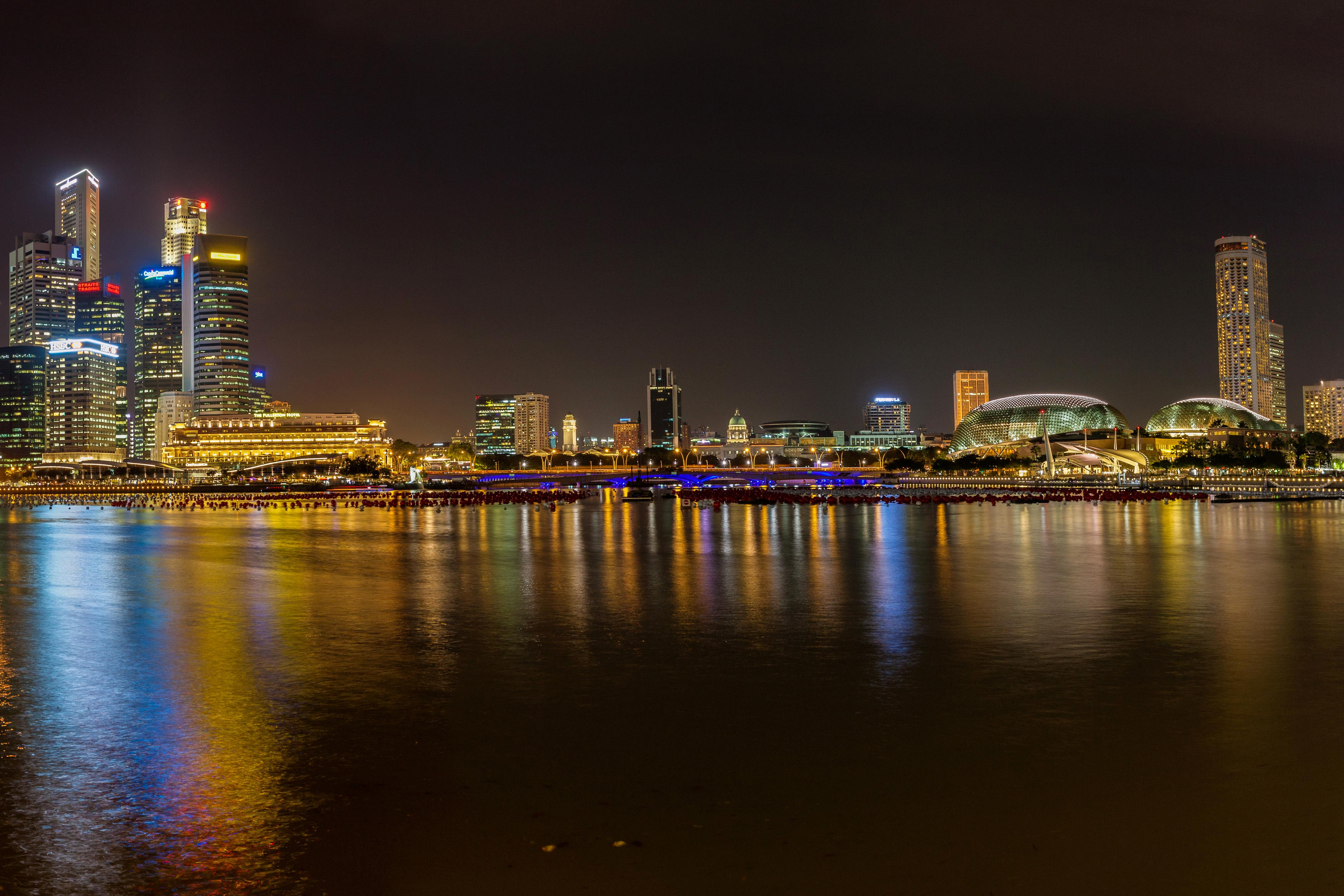 Wallpapers Singapore Rivers night time Cities Houses 4500x3000