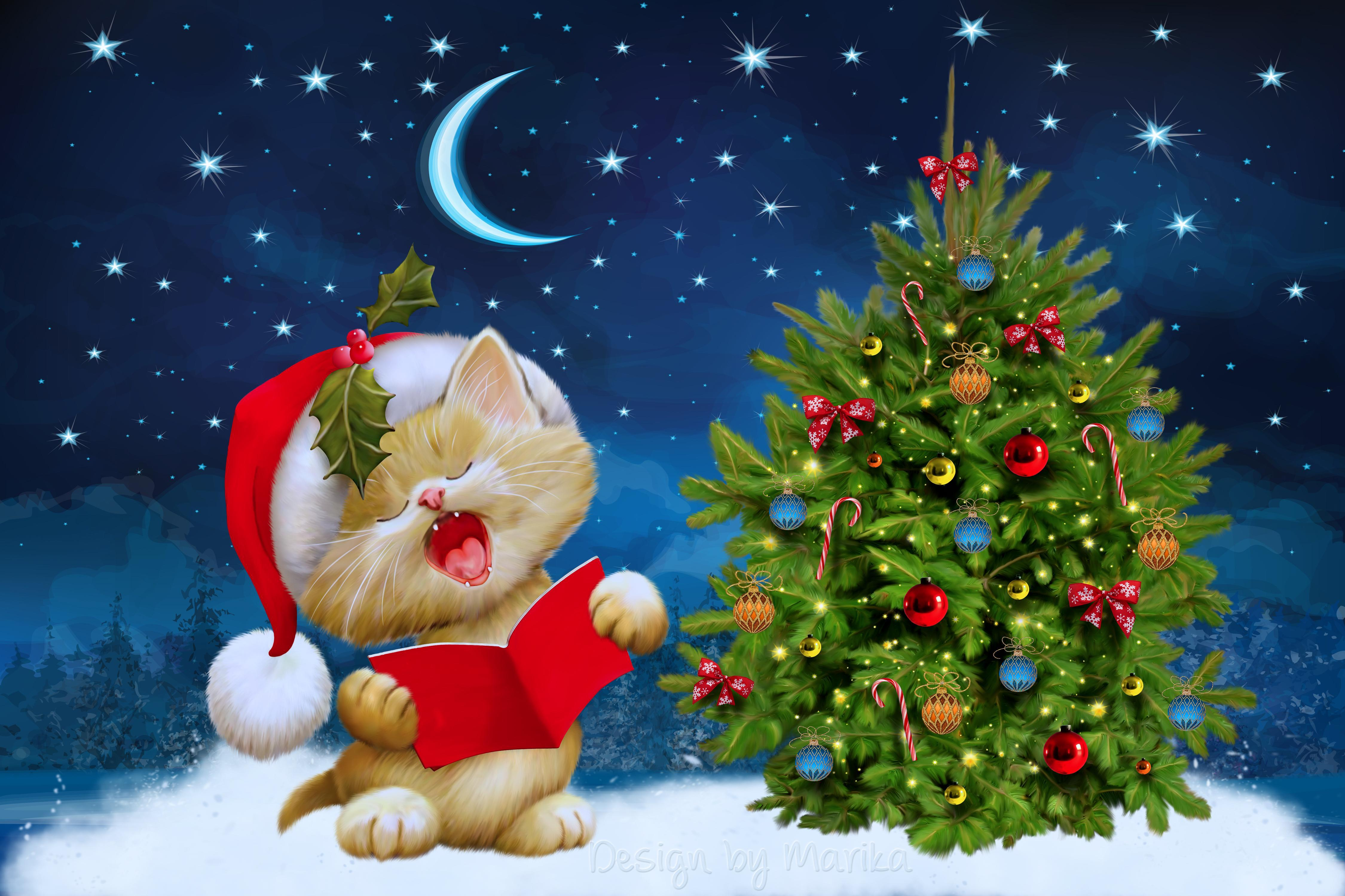 Download wallpapers 4500x3000 new year, christmas, cat, card hd