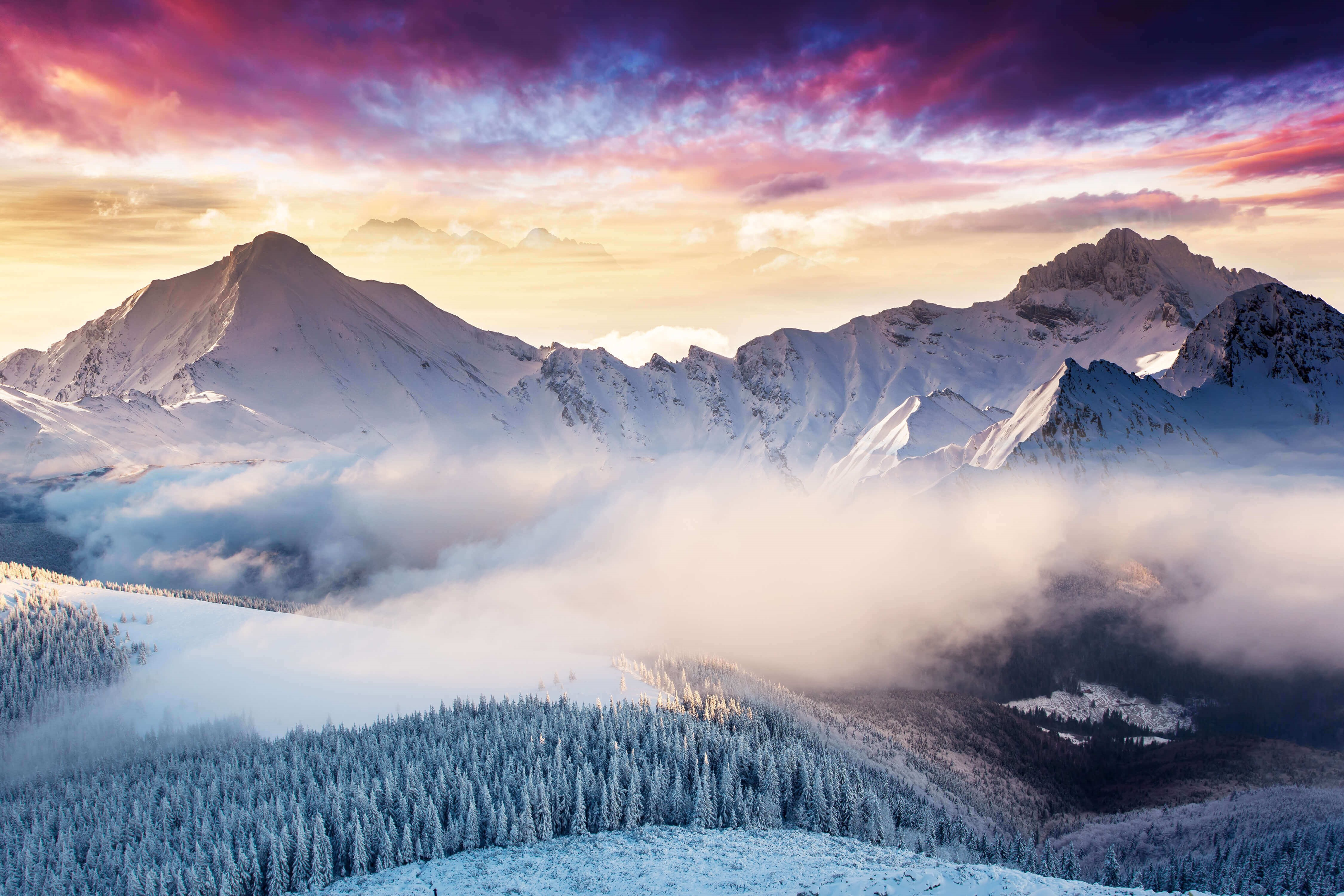 Wallpapers Landscape, Mountains, Winter, Forest, Clouds, Microsoft