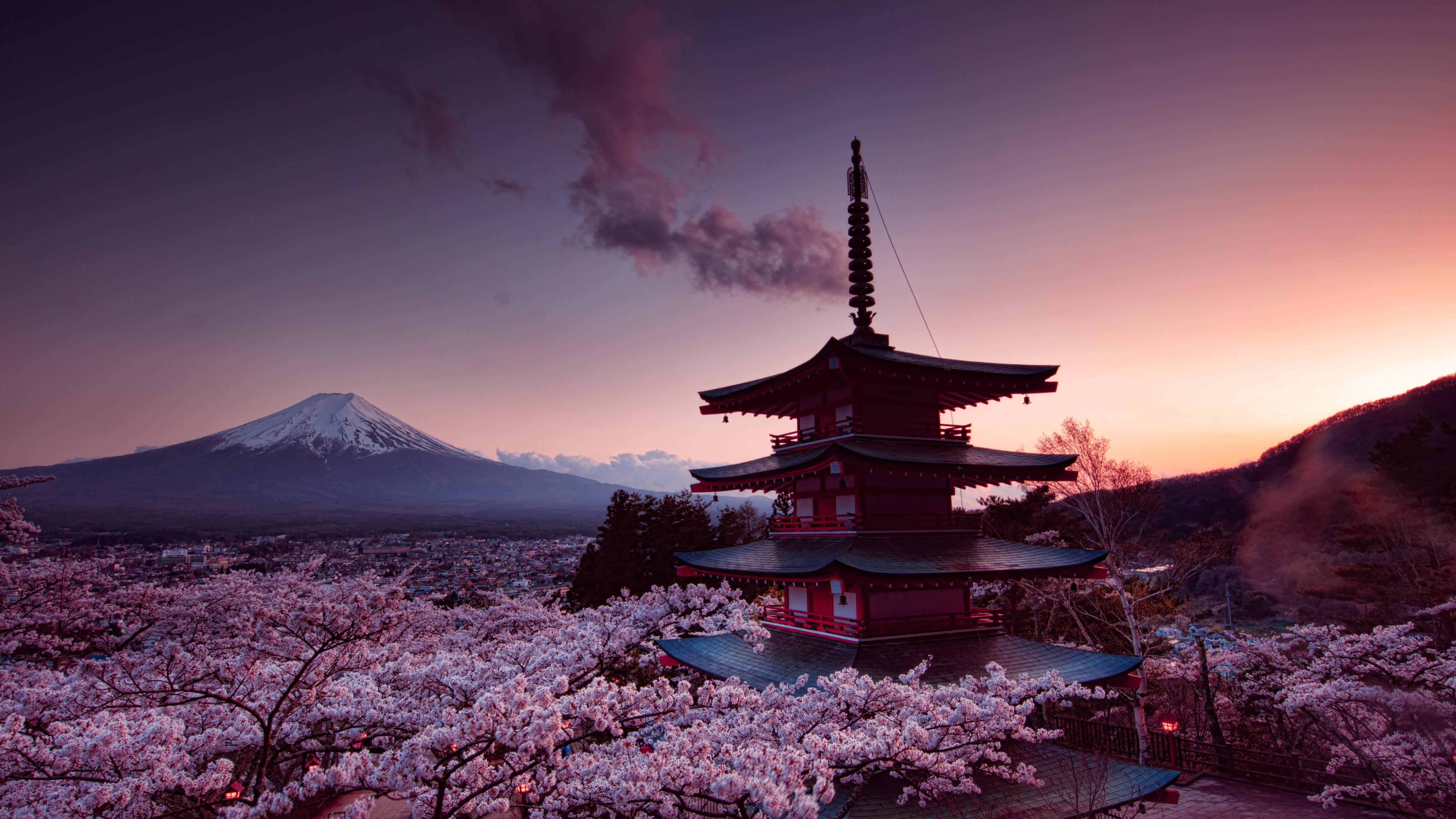 5120x2880 Churei Tower Mount Fuji In Japan 8k 5k HD 4k Wallpapers