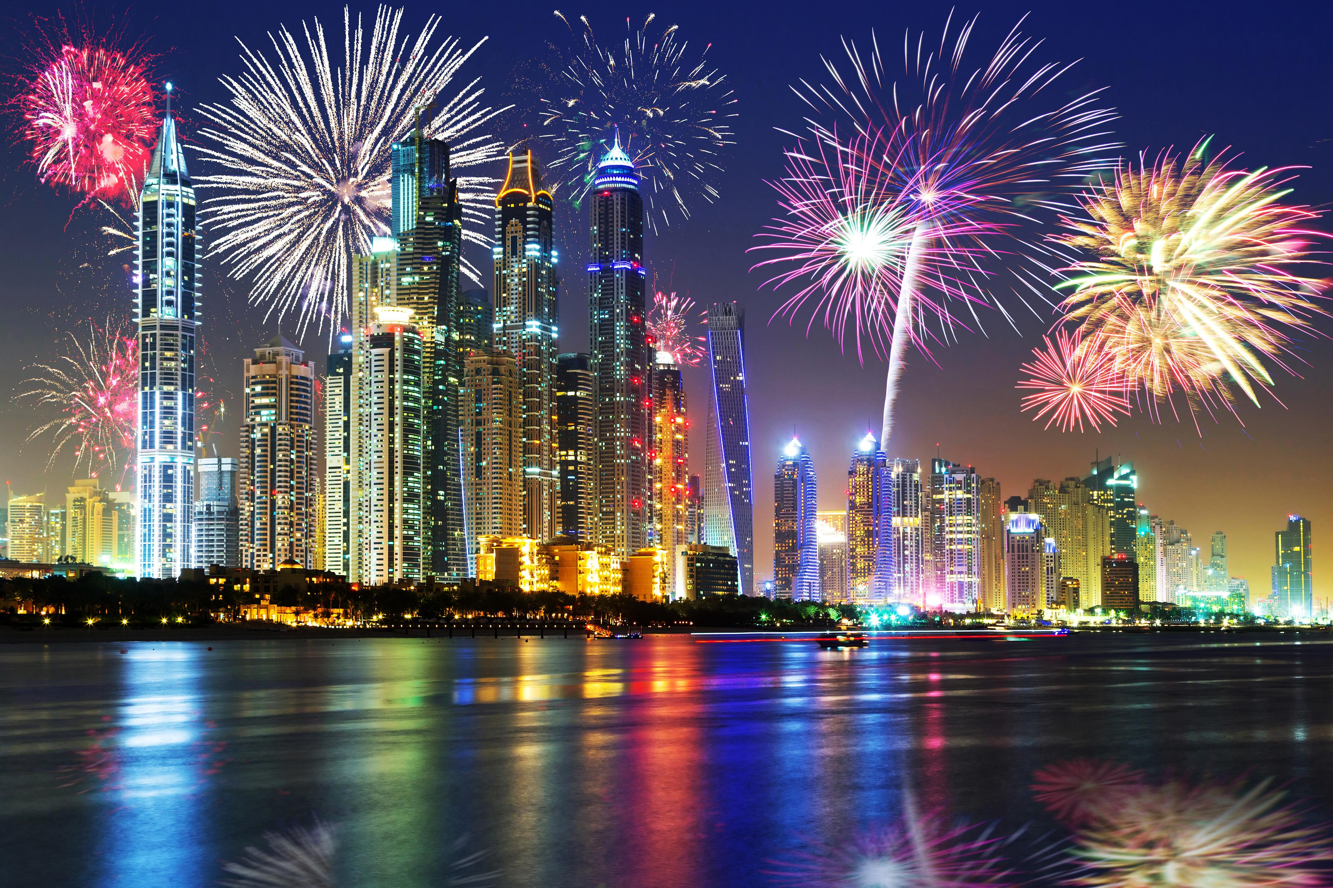 Wallpapers Dubai New year Fireworks Emirates UAE Sky Night 4500x3000
