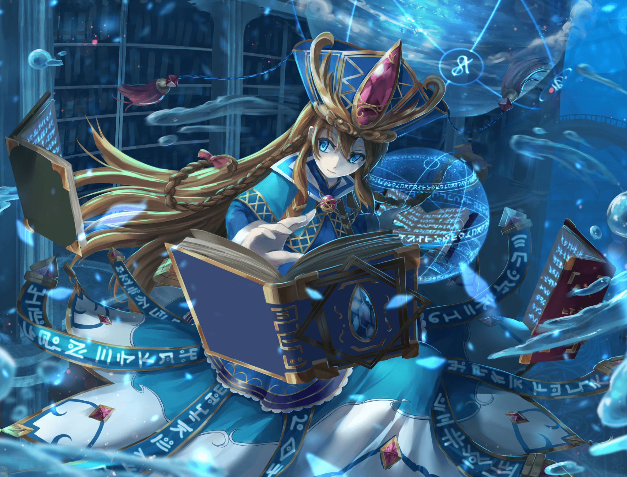 Download 2048x1556 Brave Frontier, Magic, Library, Water Drops
