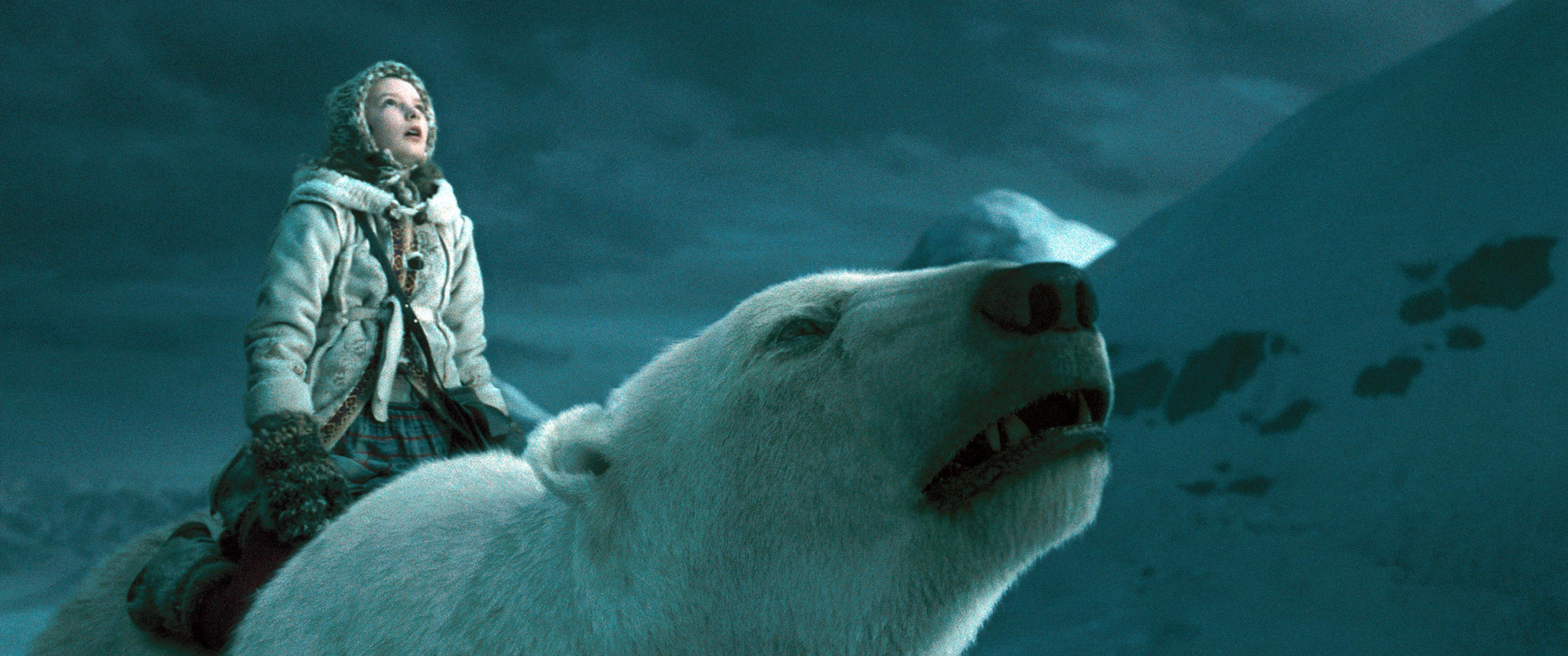 movies the golden compass polar bears children 4096x1714 wallpapers