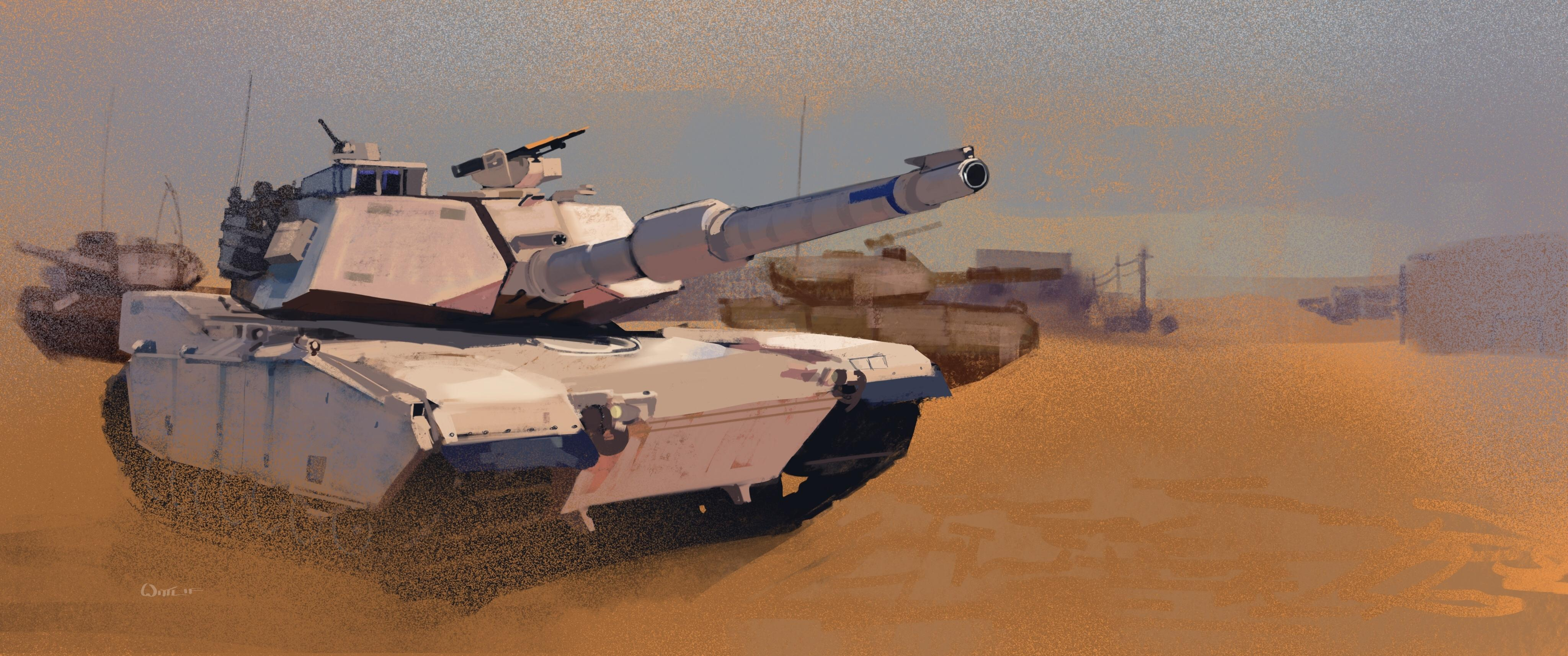 Wallpapers M1 Abrams Tanks US M1A1 Painting Art Army 4096x1714