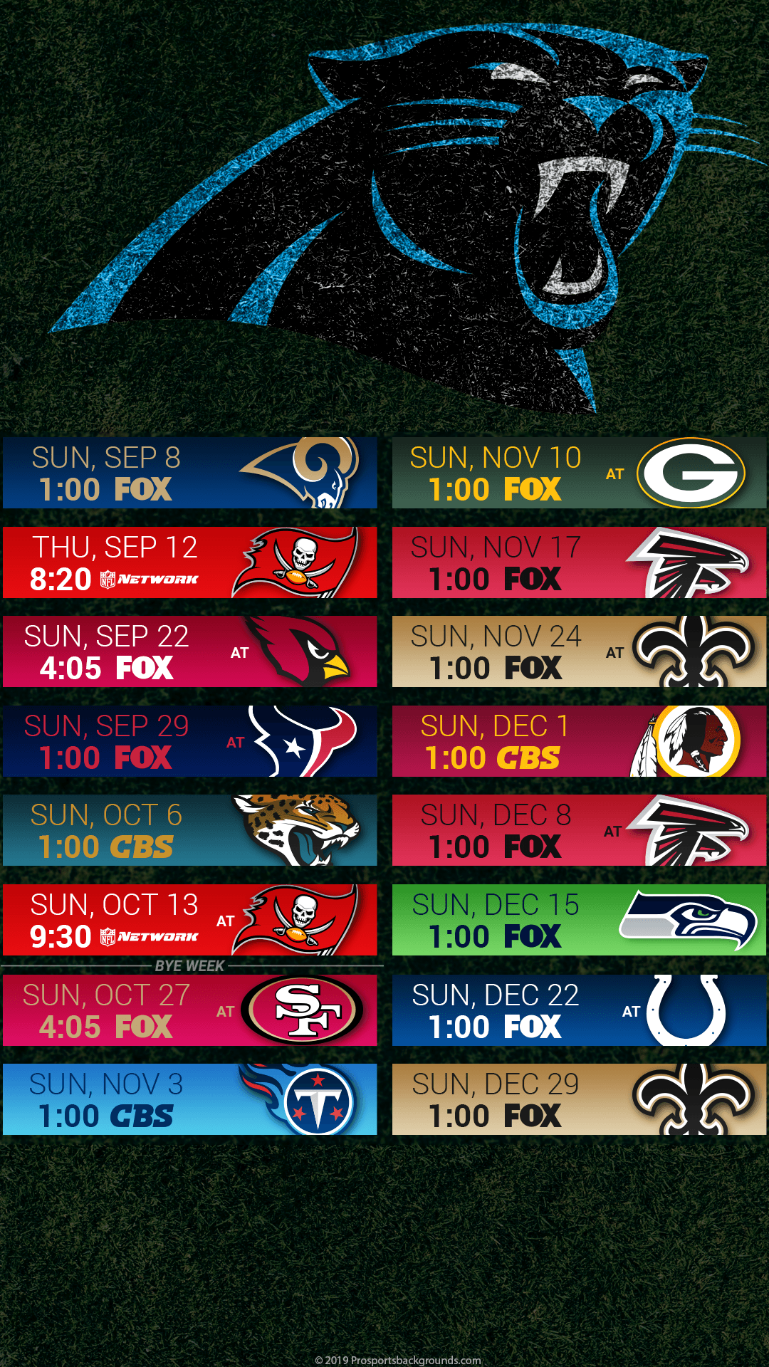 2019 Carolina Panthers Schedule Wallpapers