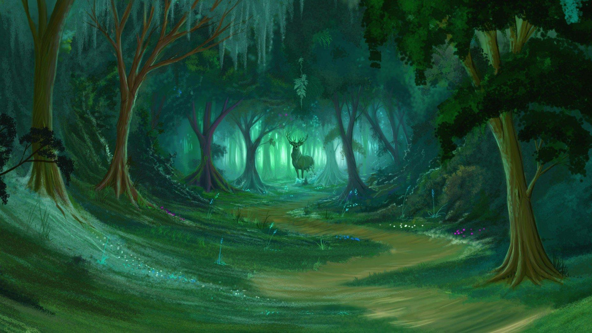 Forest Painting Wallpapers Wallpaper Cave
